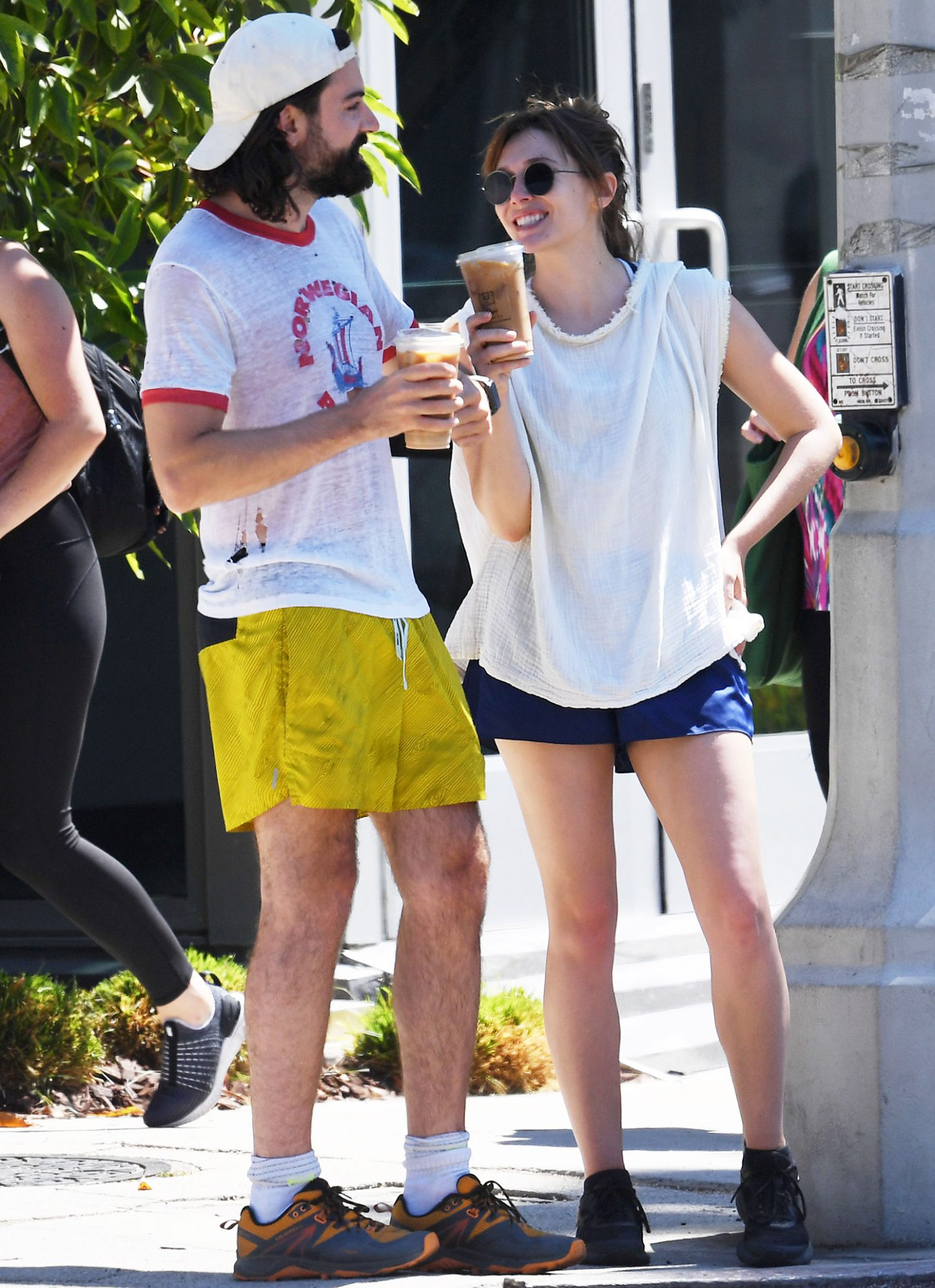 Elizabeth Olsen and Robbie Arnett in L.A. were getting coffee after exercising together leading up to their Fourth of July weekend holiday on July 02, 2021.