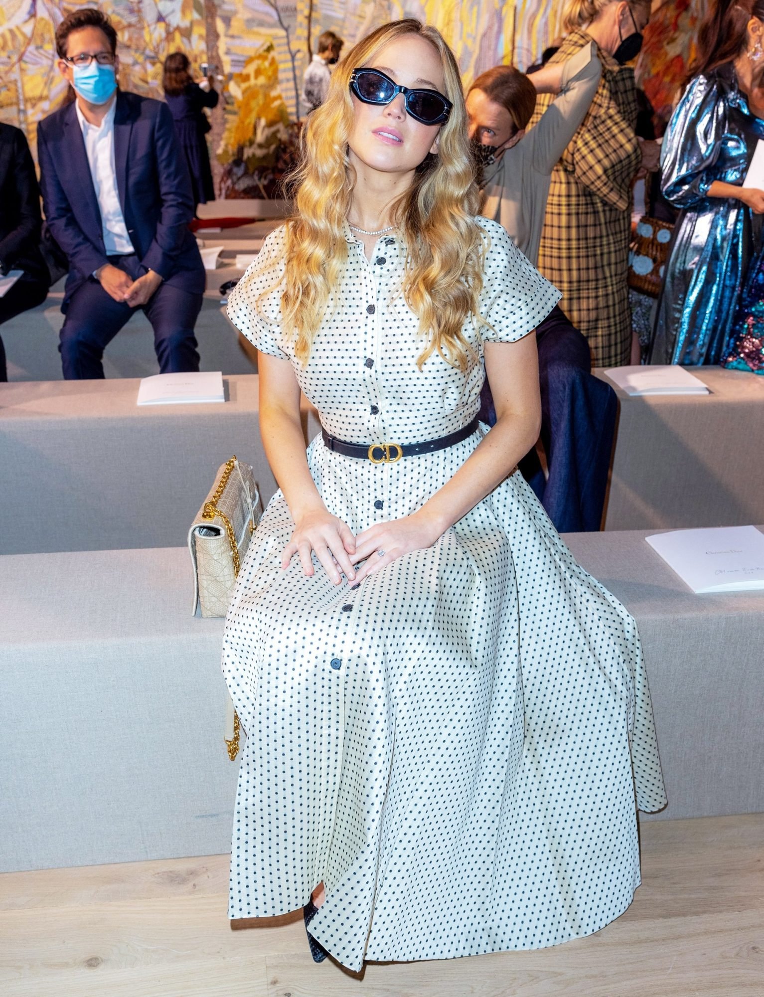 Jennifer Lawrence in the Front Row during the Christian Dior Haute Couture Fall/Winter 2021/2022 show as part of Paris Fashion Week in Paris, France, on July 05, 2021.