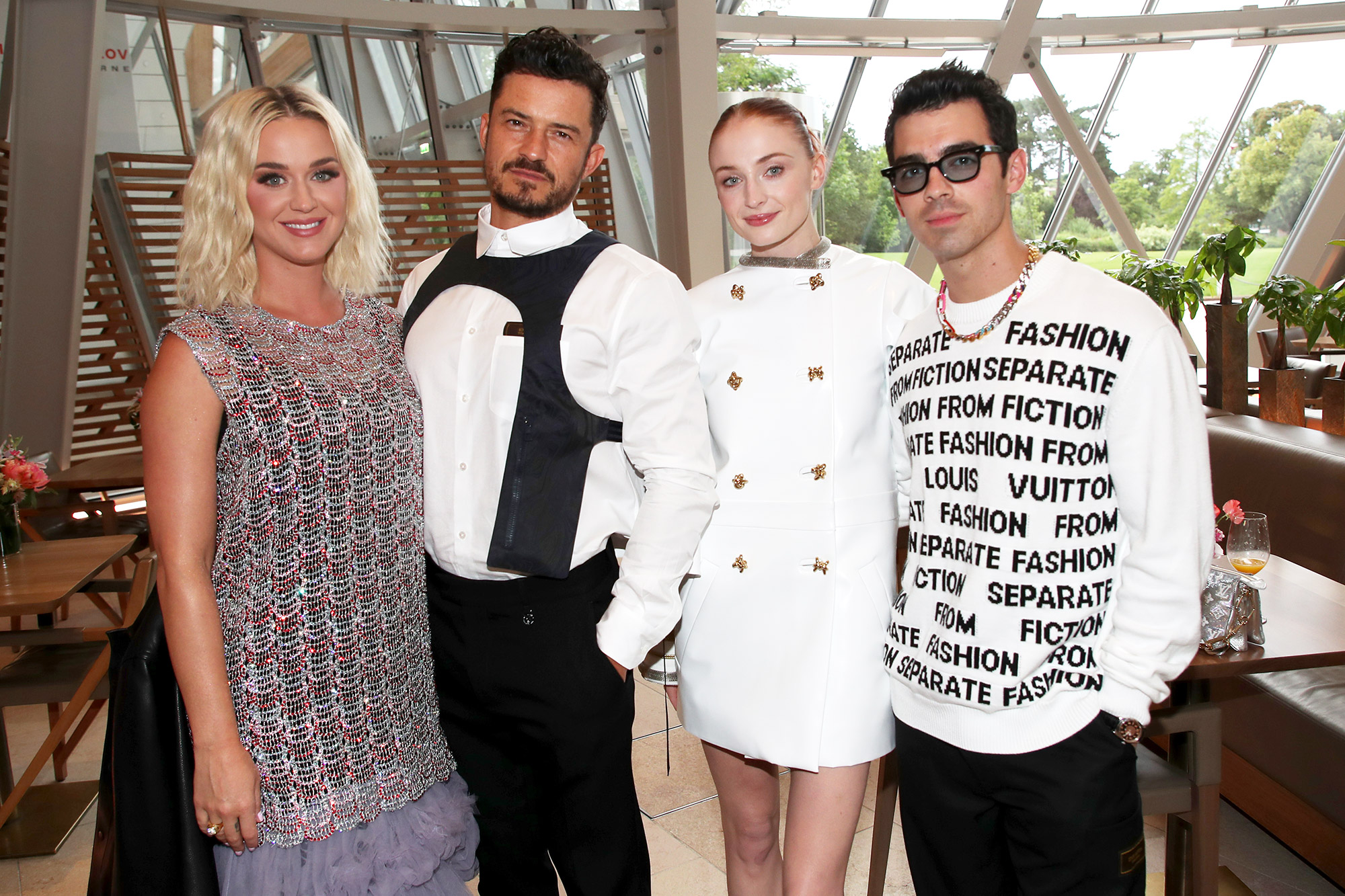 Katy Perry, Orlando Bloom, Sophie Turner and Joe Jonas attend Louis Vuitton Parfum hosts dinner at Fondation Louis Vuitton on July 05, 2021 in Paris, France