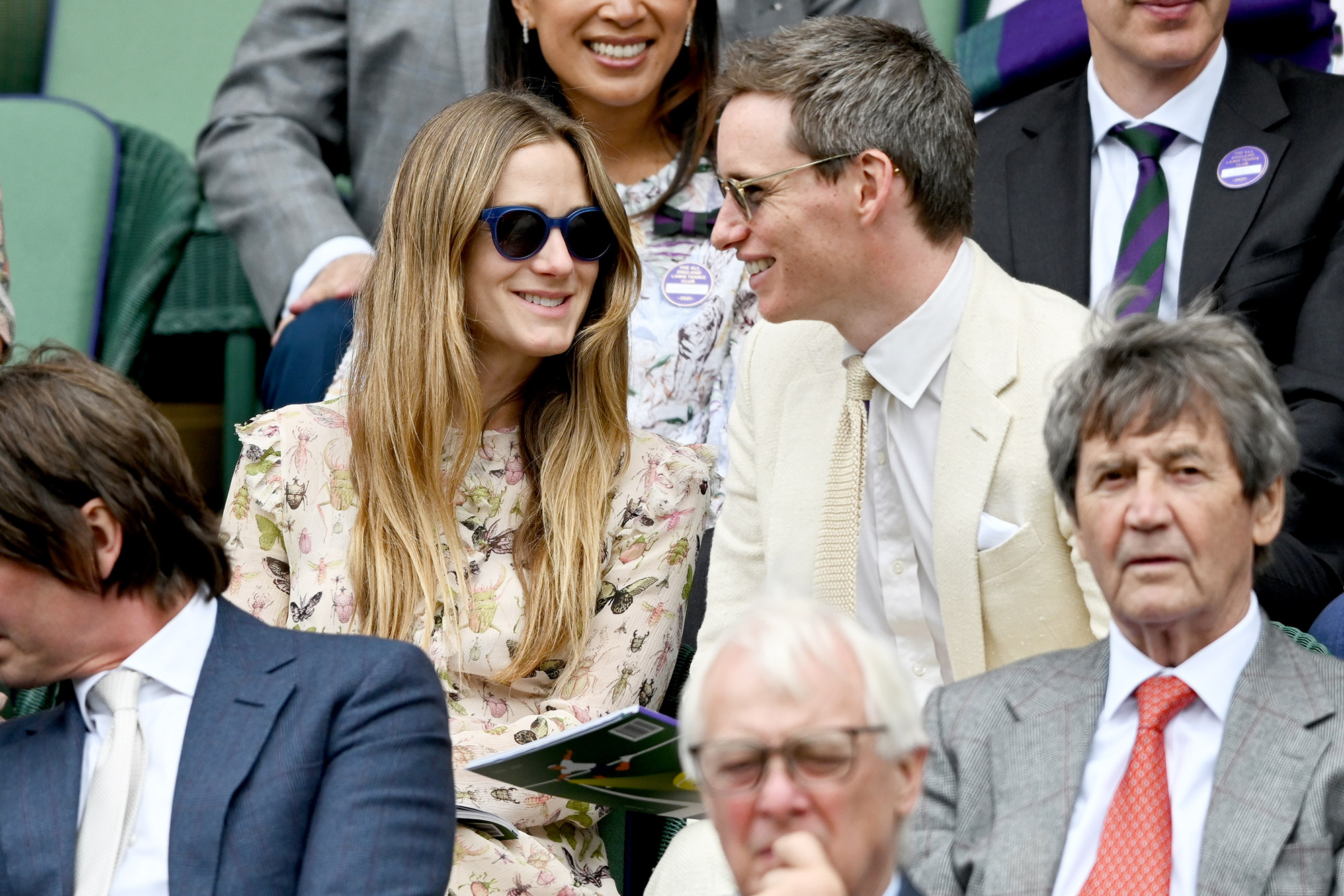 Hannah Redmayne and Eddie Redmayne attend Wimbledon Championships Tennis Tournament at All England Lawn Tennis and Croquet Club on July 07, 2021 in London, England