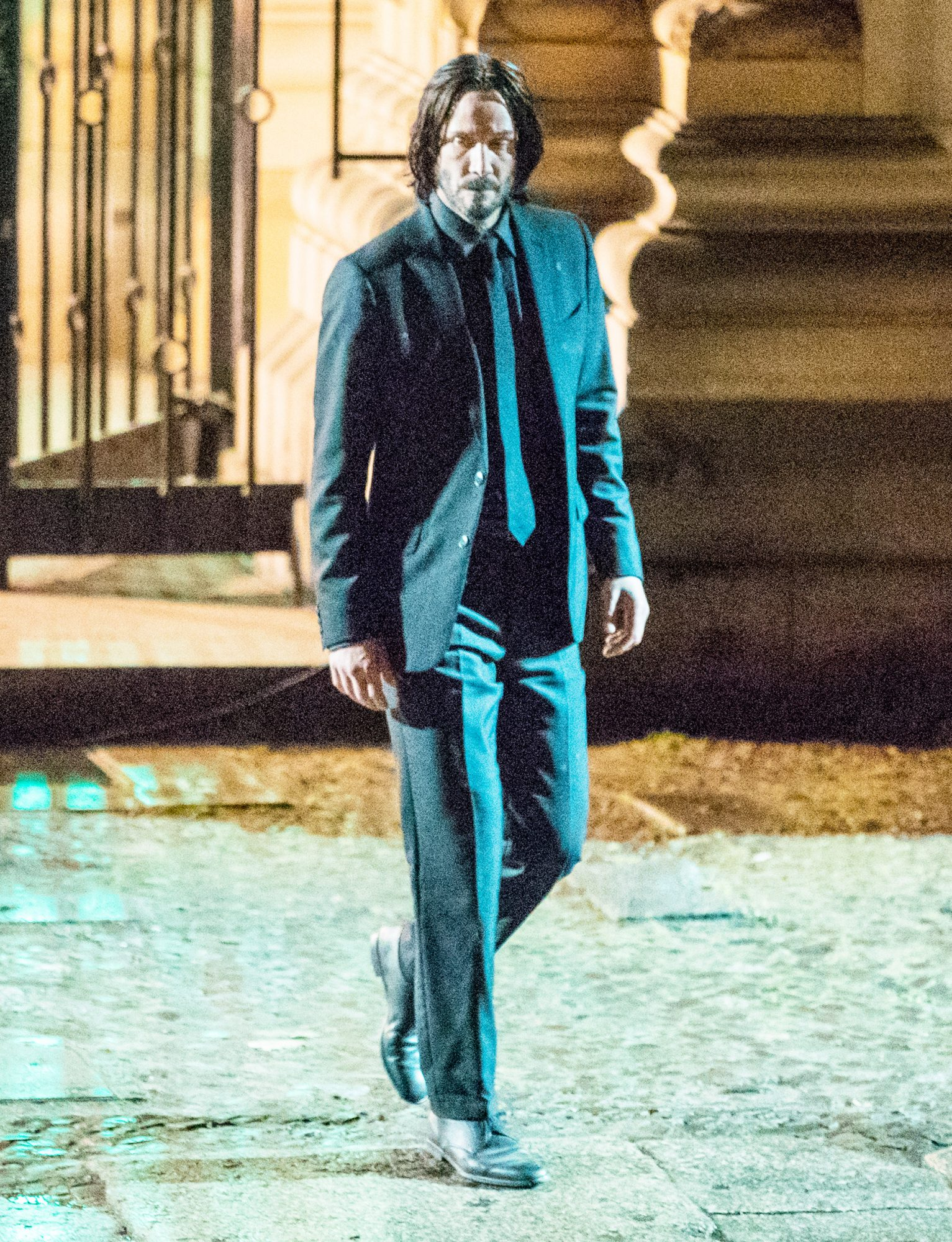 """Keanu Reeves Continues Filming The 4th Installment Of """"John Wick"""" In Berlin, Germany In and outside """"Herzjesu"""" church, Prenzlauer Berg"""