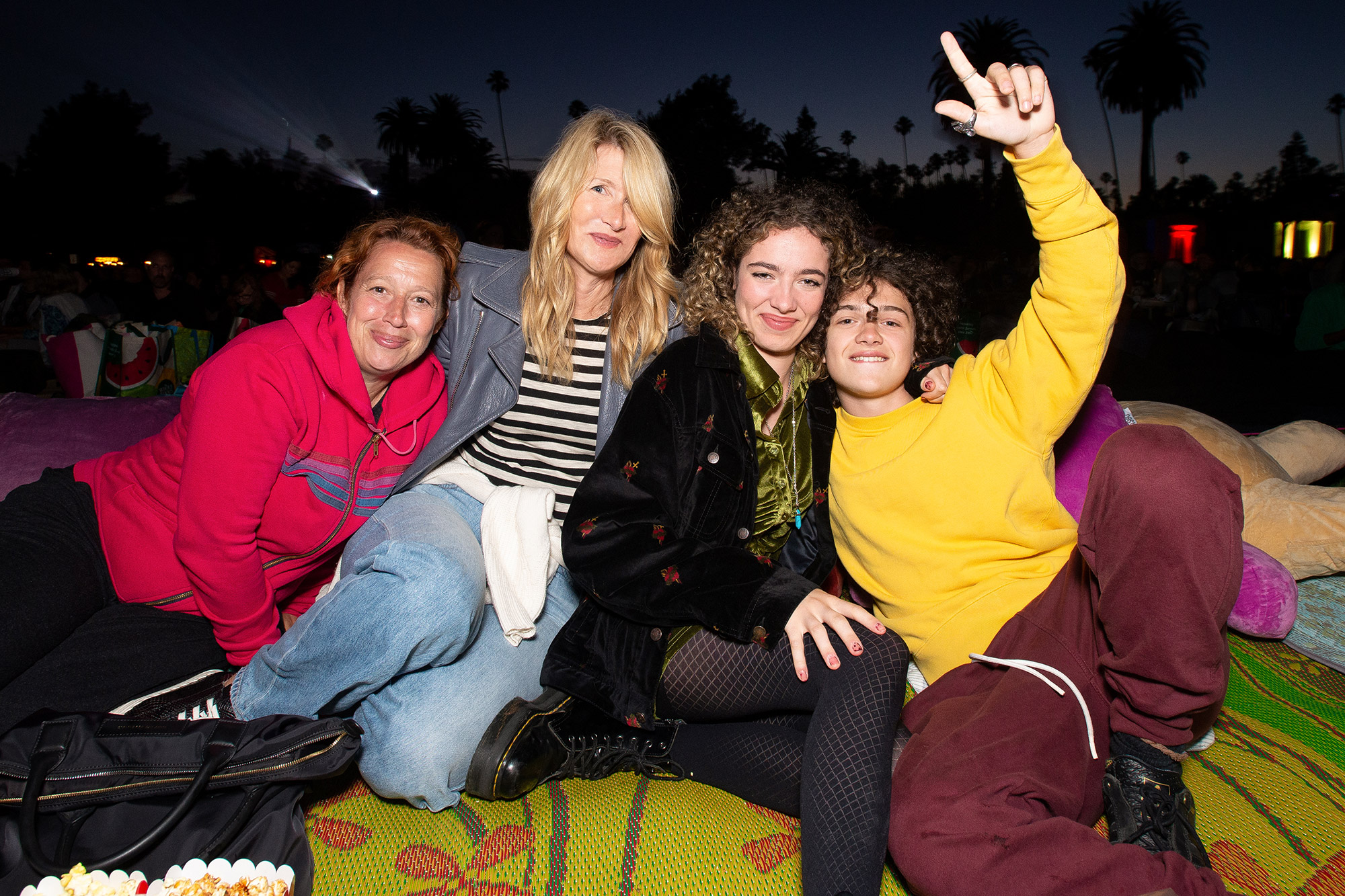 Laura Dern and her daughter Jaya Harper joined by Noah Jupe and his mother Katy Cavanagh.