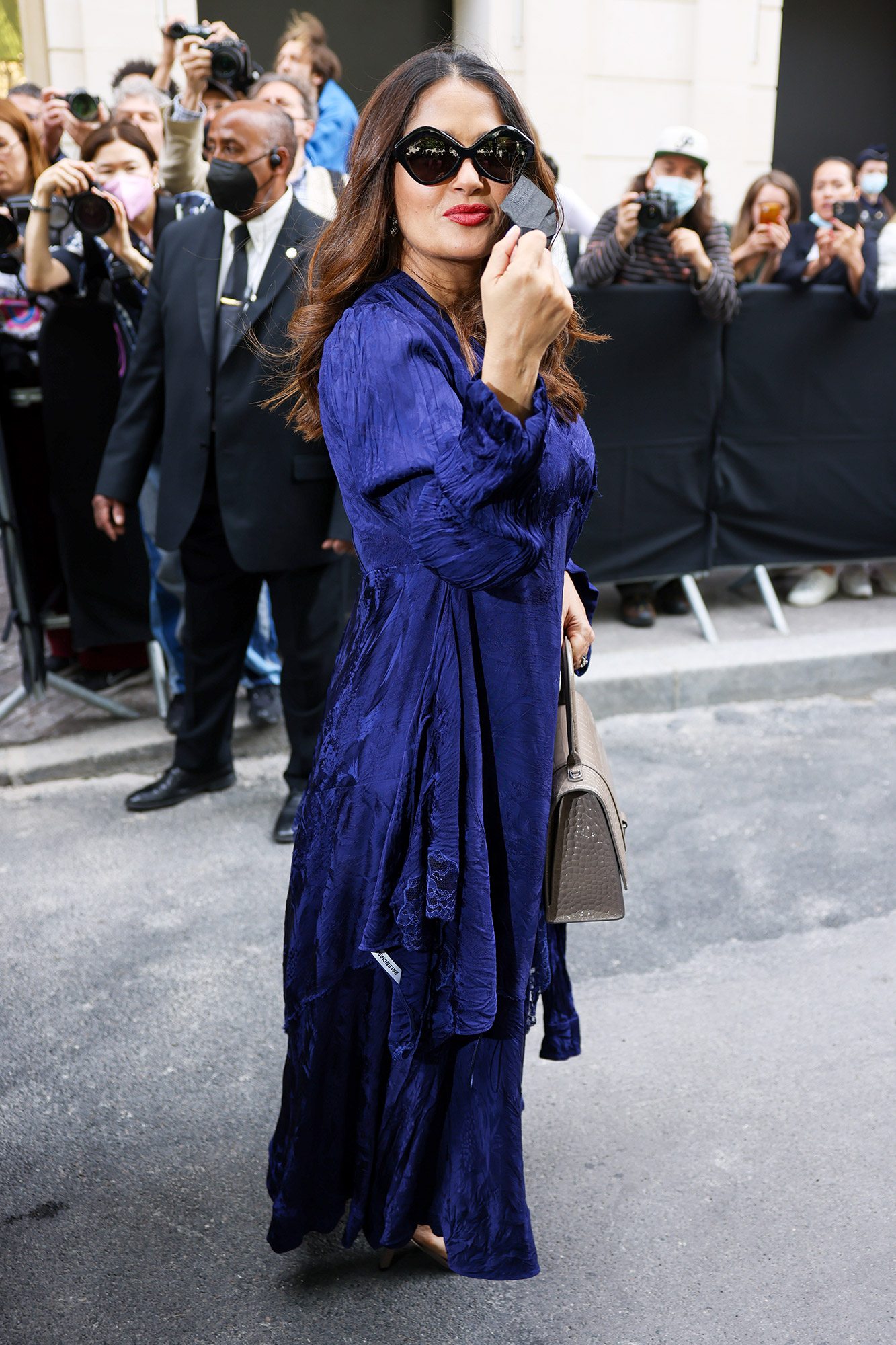 Salma Hayek attends the Balenciaga Haute Couture Fall/Winter 2021/2022 show as part of Paris Fashion Week on July 07, 2021 in Paris, France