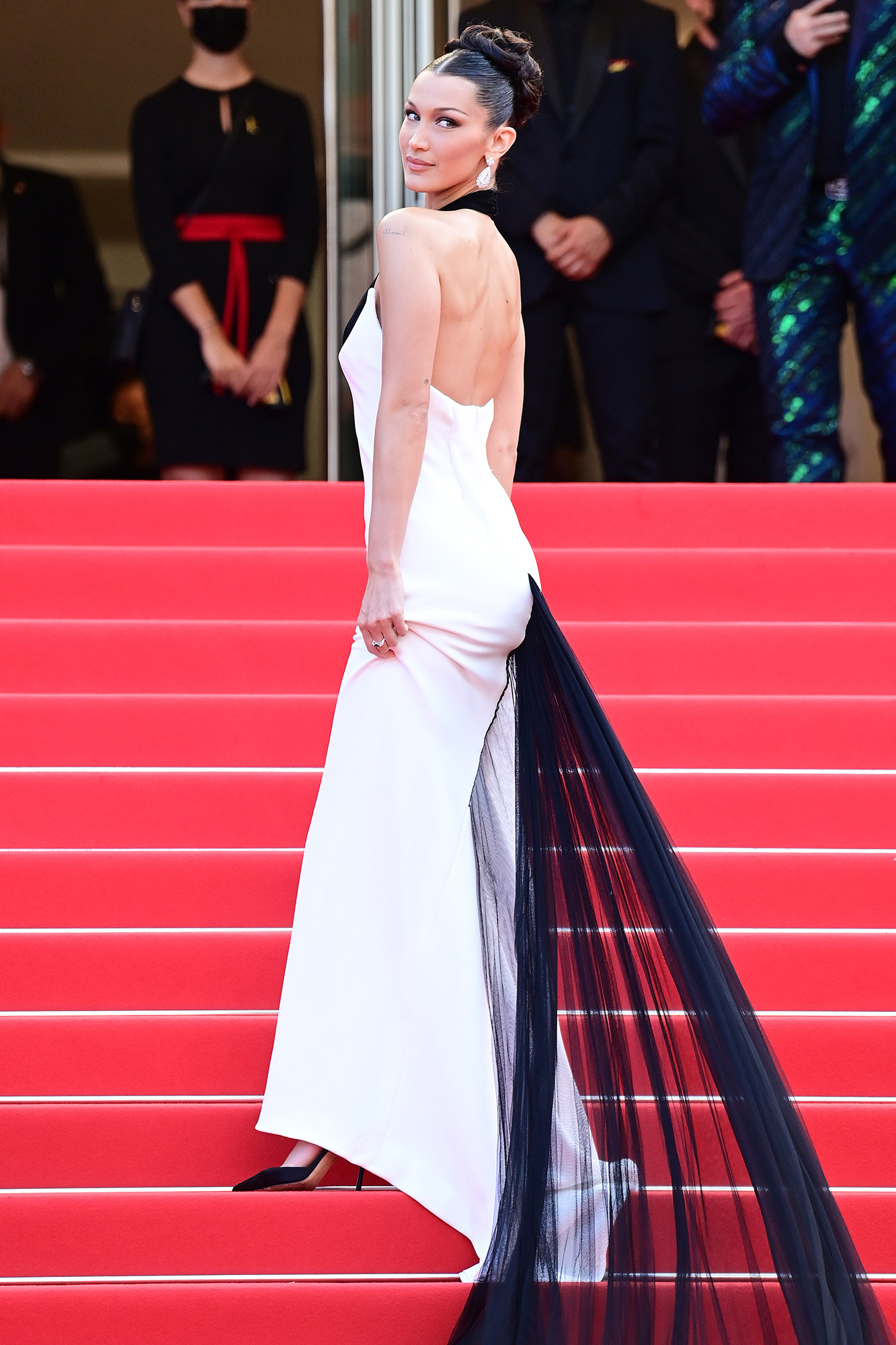 """Bella Hadid attends the """"Annette"""" screening and opening ceremony during the 74th annual Cannes Film Festival on July 06, 2021 in Cannes"""