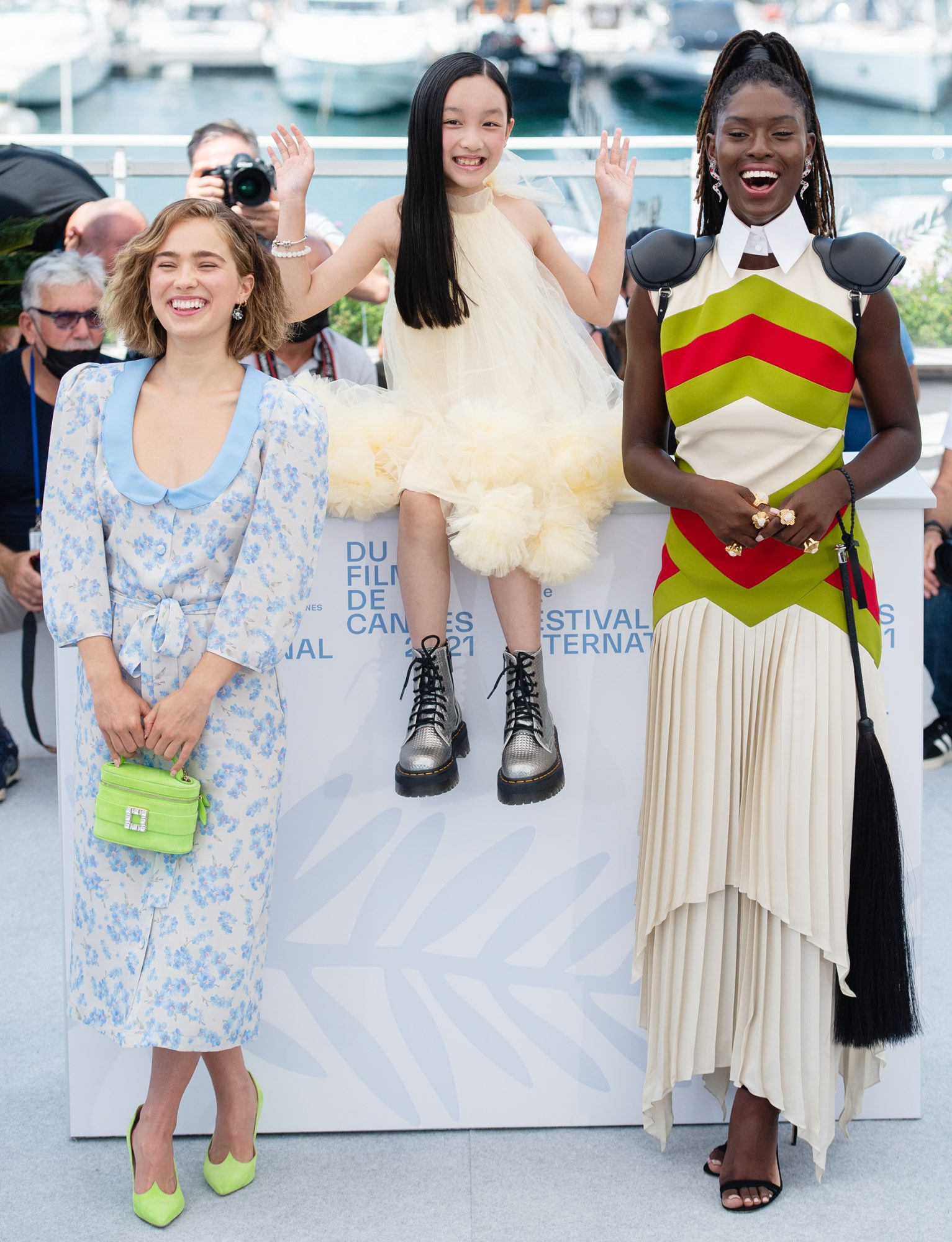 """Haley Lu Richardson, Malea Emma Tjandrawidjaja and Jodie Turner-Smith attends the """"After Yang"""" photocall during the 74th annual Cannes"""