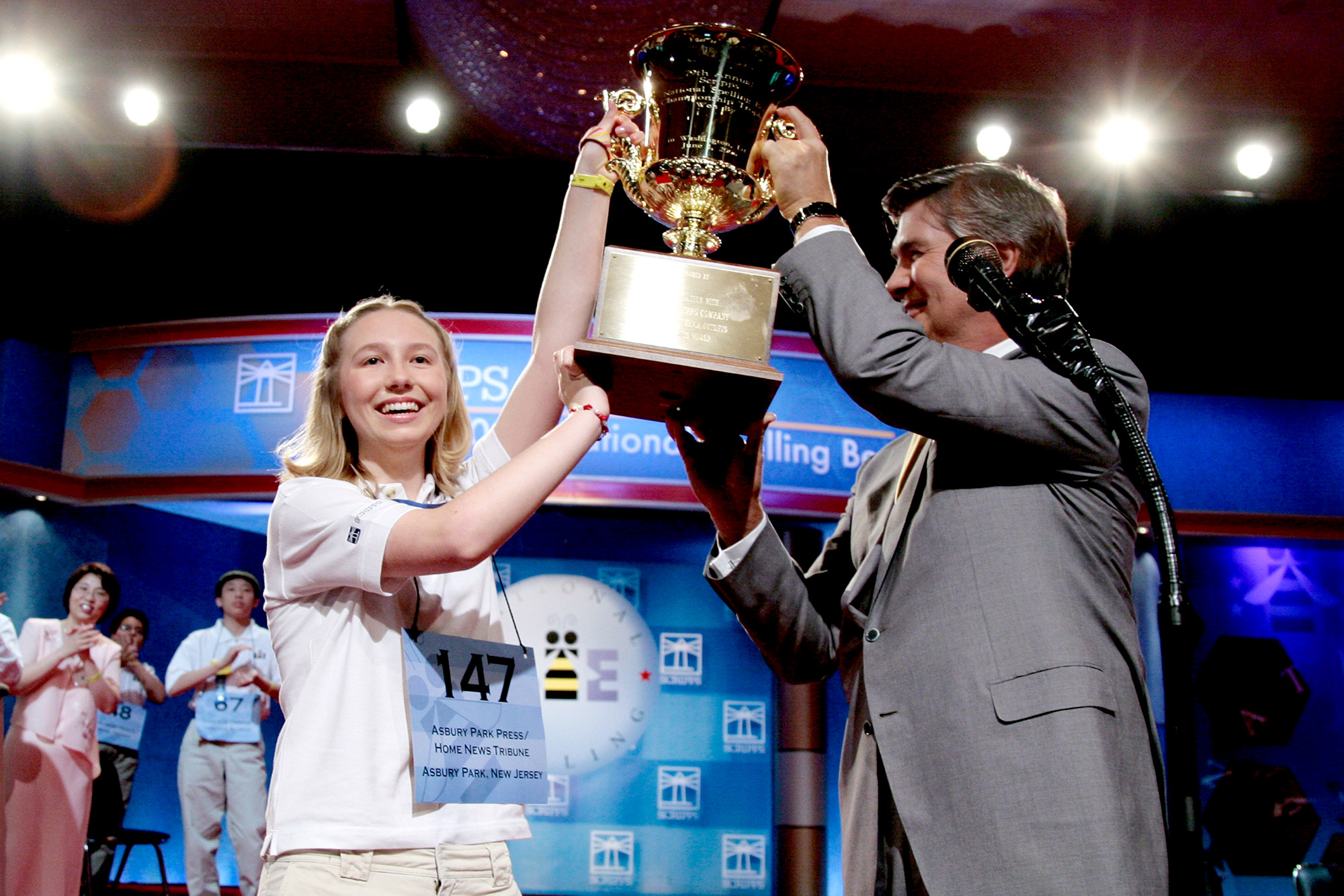 Katharine Close of New Jersey is the winner of the 79th Scripps Howard National Spelling Bee in Washington, D.C., on Thursday, June 1, 2006