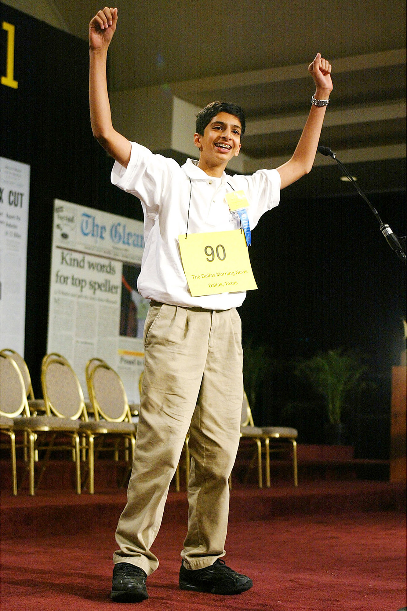 """Sai Gunturi celebrates his win in the 76th Scripps Howard National Spelling Bee May 29, 2003 in Washington, DC. Gunturi won the competition by correctly spelling """"pococurante,"""" meaning nonchalant or indifferent"""