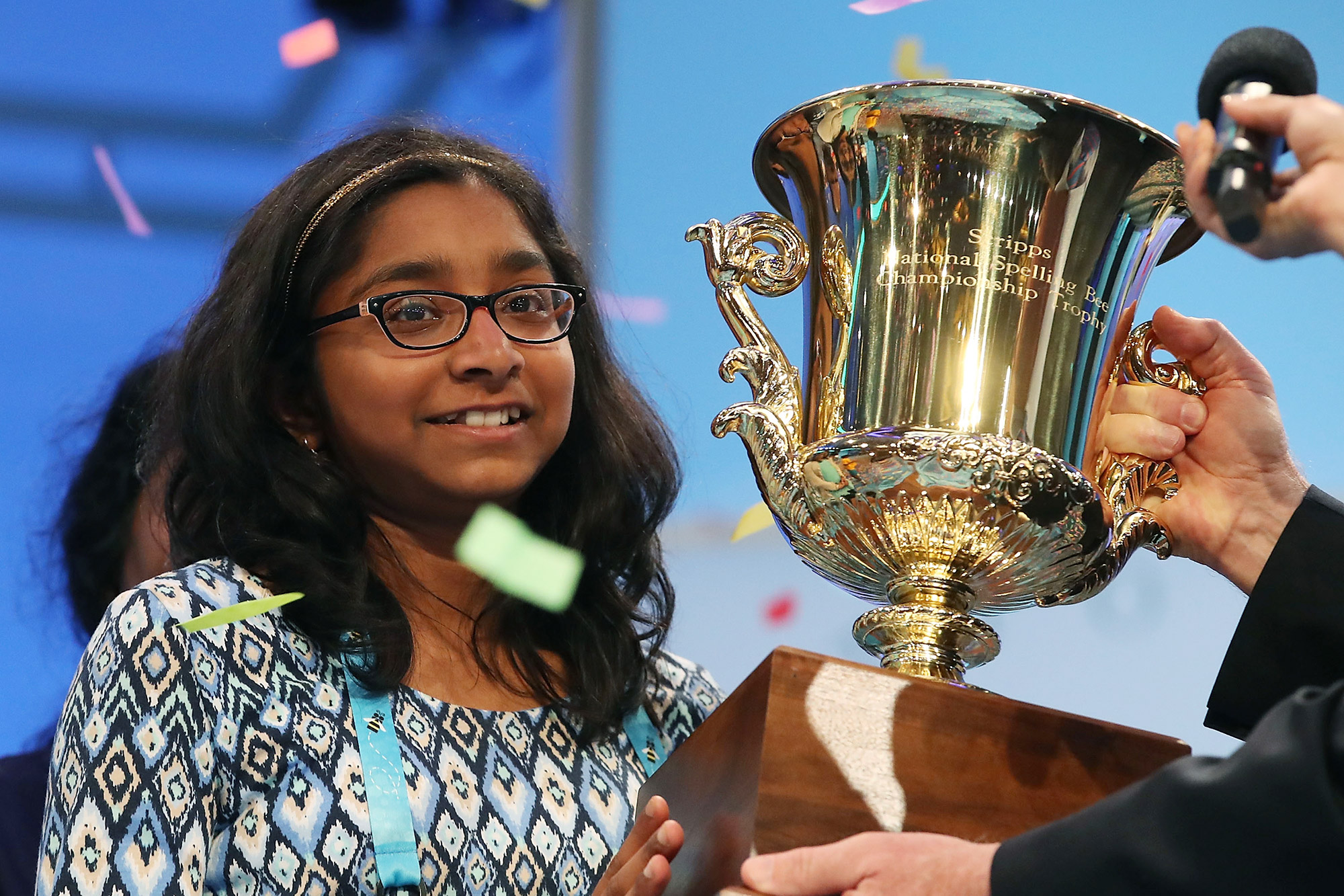 """Ananya Vinay of Fresno, CA. won the 2017 Scripps National Spelling Bee by spelling the word """"marocain"""", at Gaylord National Resort & Convention Center June 1, 2017 in National Harbor, Maryland"""