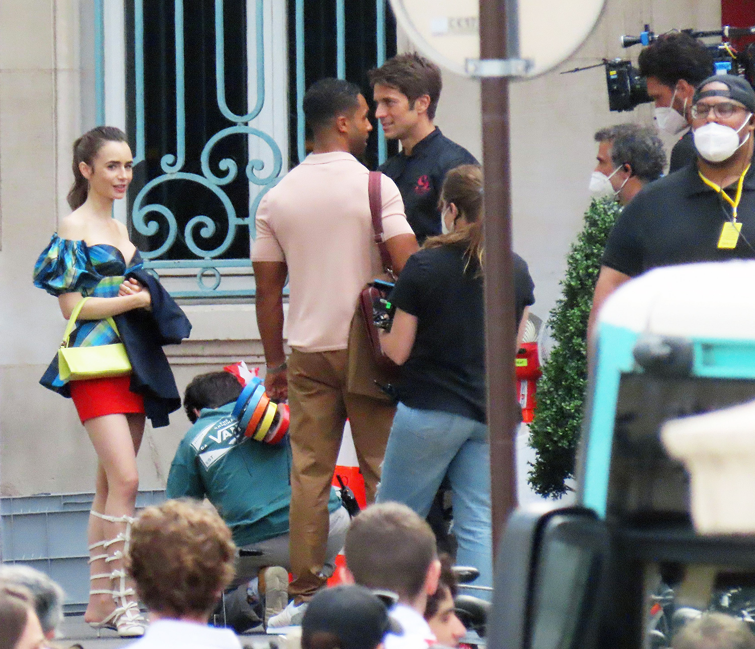 Lily Collins on the film set of Emily in Paris, season 2. 09 Jul 2021 Pictured: Lily Collins.