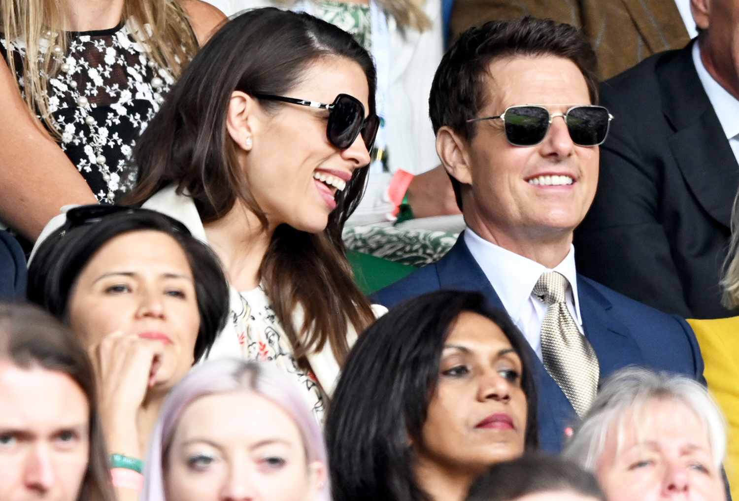 Hayley Atwell and Tom Cruise attend Wimbledon Championships Tennis Tournament at All England Lawn Tennis and Croquet Club on July 10, 2021 in London, England.