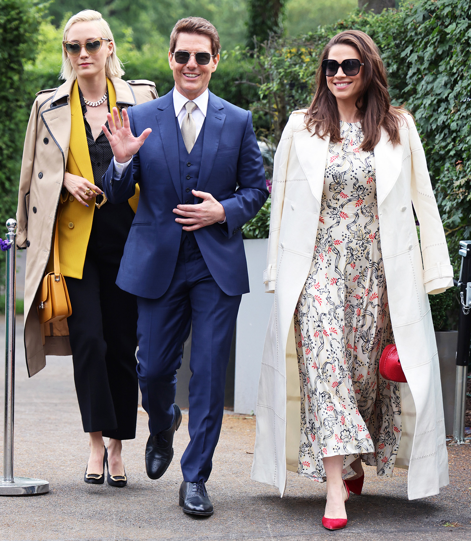 Tom Cruise, Pom Klementieff and Hayley Atwell attend Wimbledon Championships Tennis Tournament Ladies Final Day at All England Lawn Tennis and Croquet Club on July 10, 2021 in London, England.