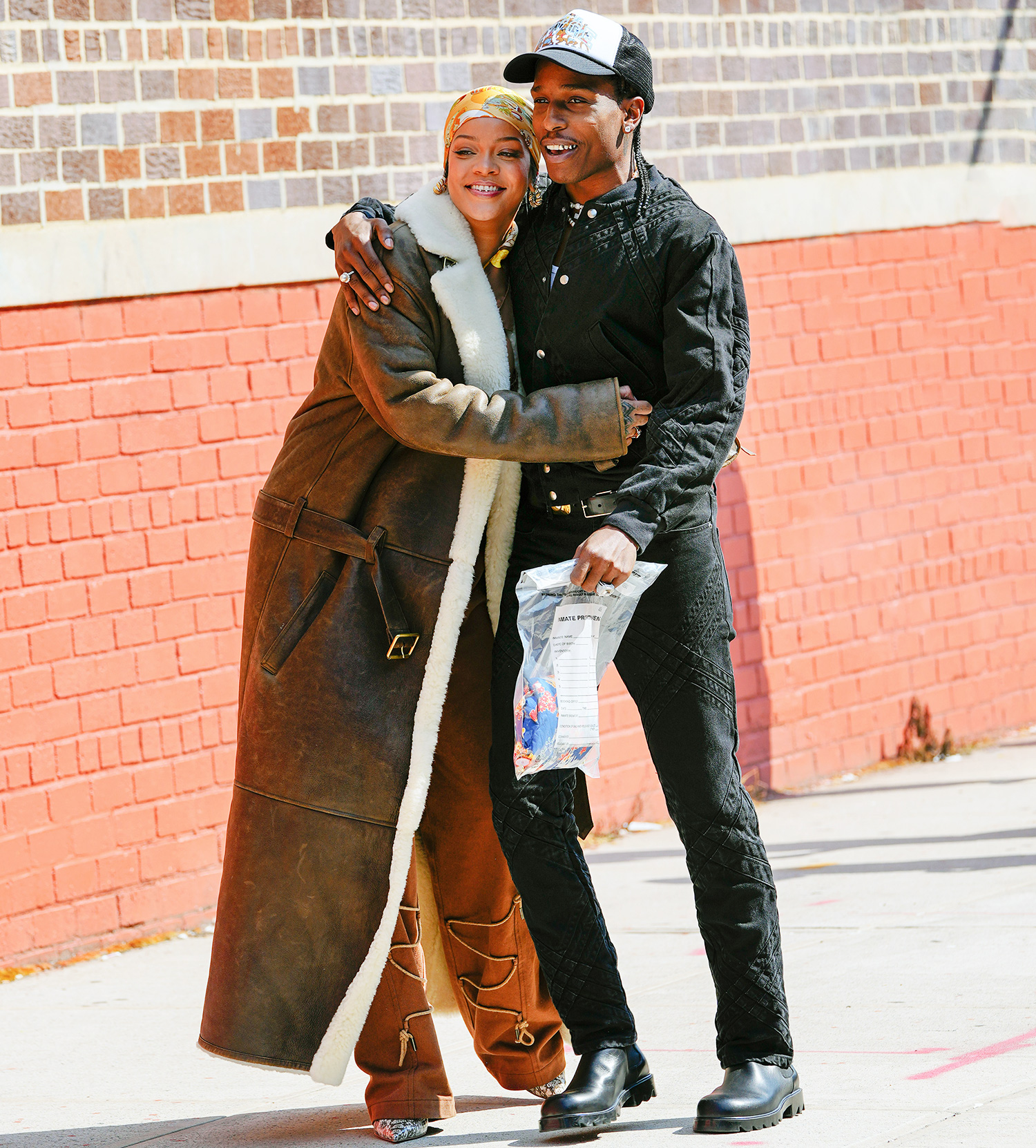 Rihanna and A$AP Rocky are seen on set for a music video on July 10, 2021 in New York City.