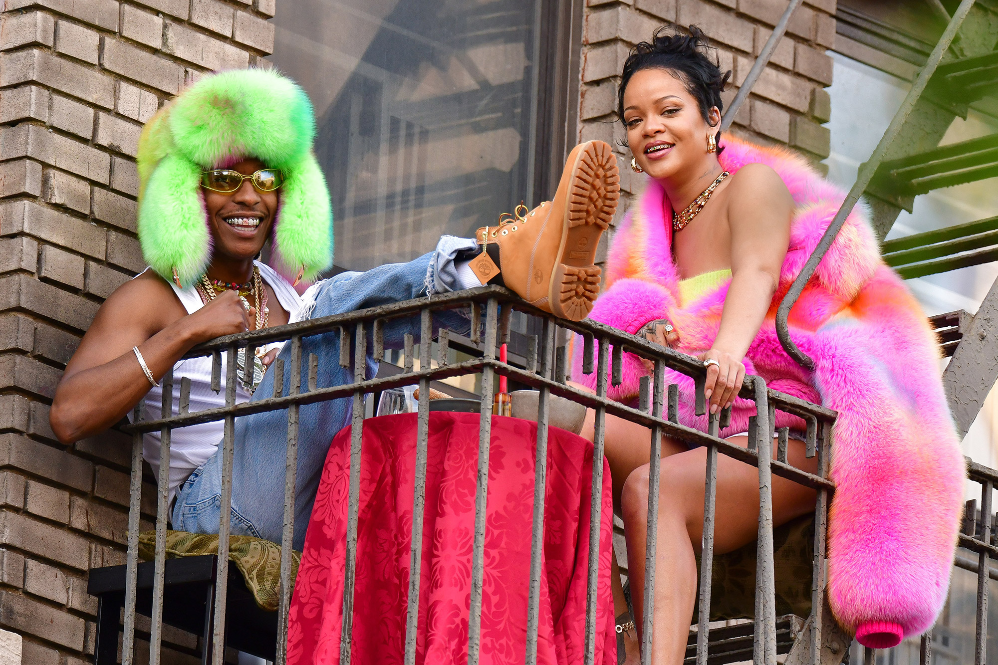 A$AP Rocky and Rihanna seen on the set of their music video in the Bronx on July 11, 2021 in New York City