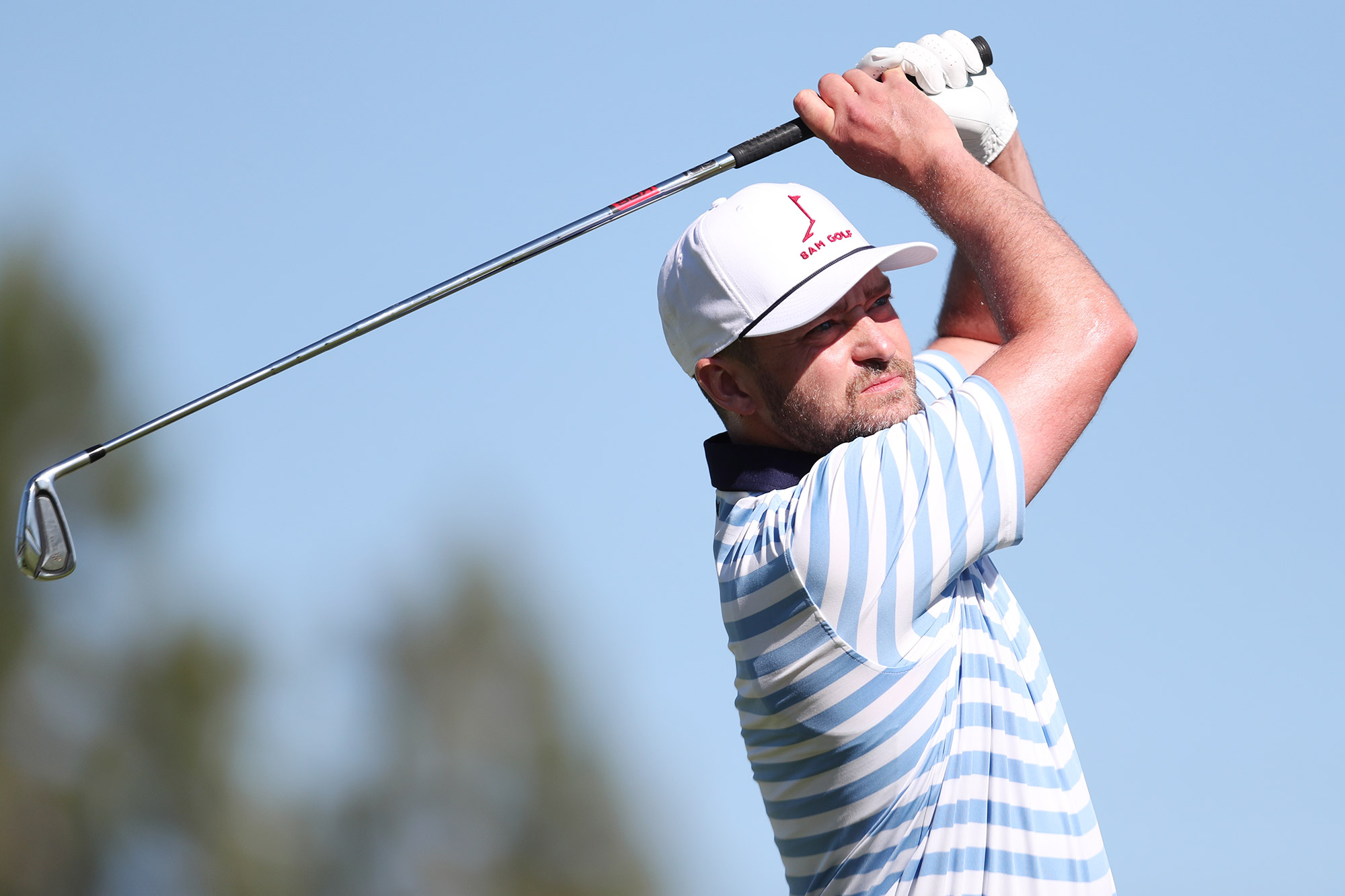 Justin Timberlake tees off from the first hole during the final round of the American Century Championship at Edgewood Tahoe South golf course on July 11, 2020 in South Lake Tahoe