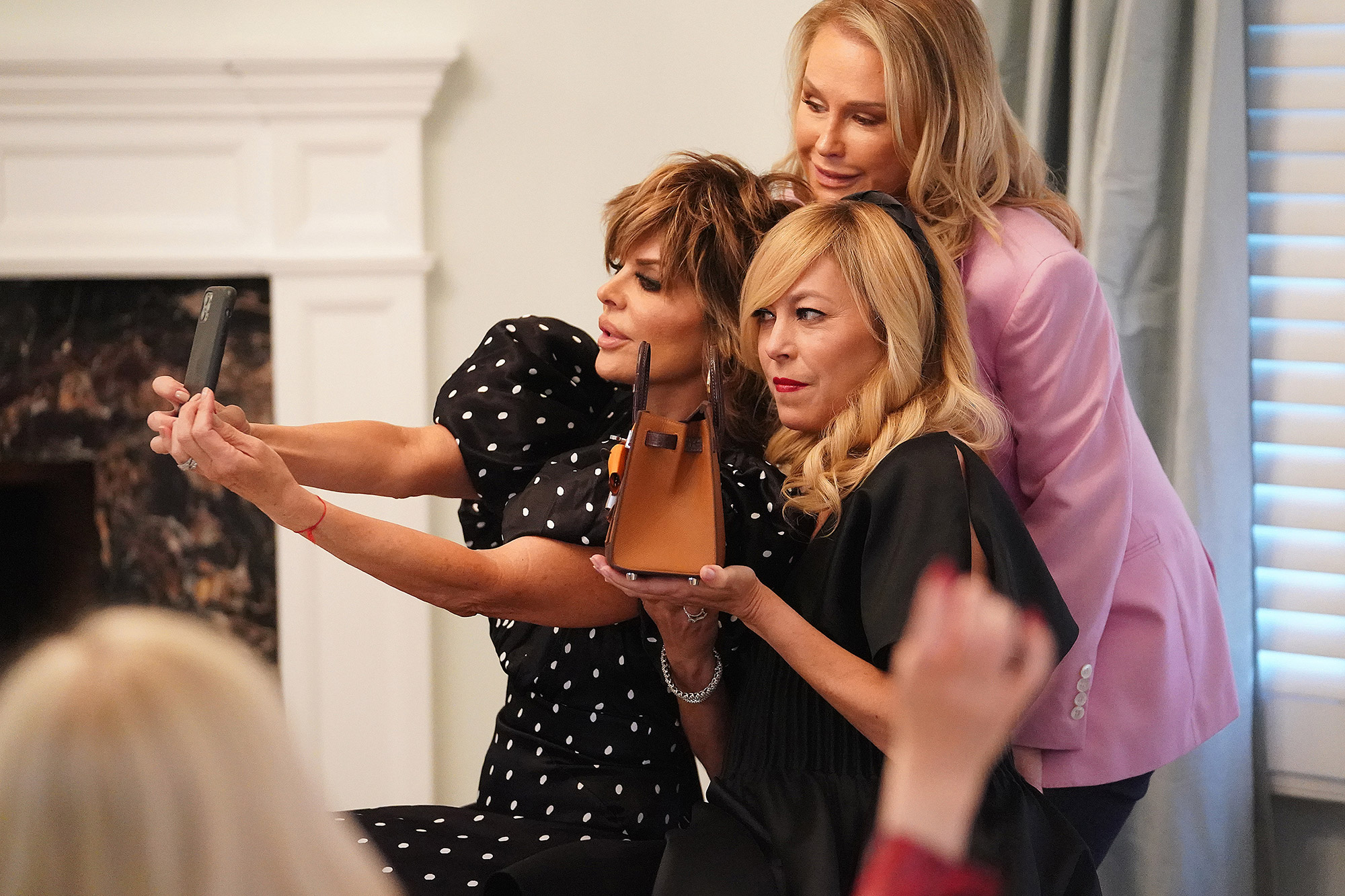 """THE REAL HOUSEWIVES OF BEVERLY HILLS -- """"The Divided States of Erika"""" Episode 1105 -- Pictured: (l-r) Lisa Rinna, Kathy Hilton, Sutton Stracke --"""