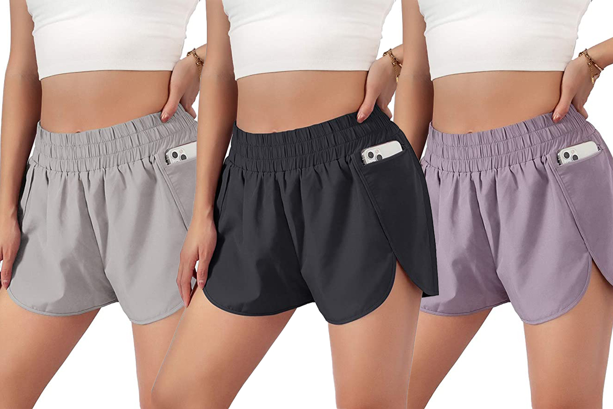 Blooming Jelly Womens Quick-Dry Running Shorts Sport Layer Elastic Waist