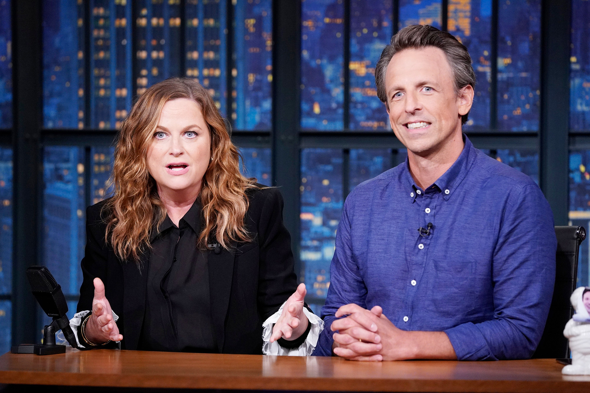 """Amy Poehler and host Seth Meyers during """"Really!?! With Seth and Amy"""" on July 13, 2021"""