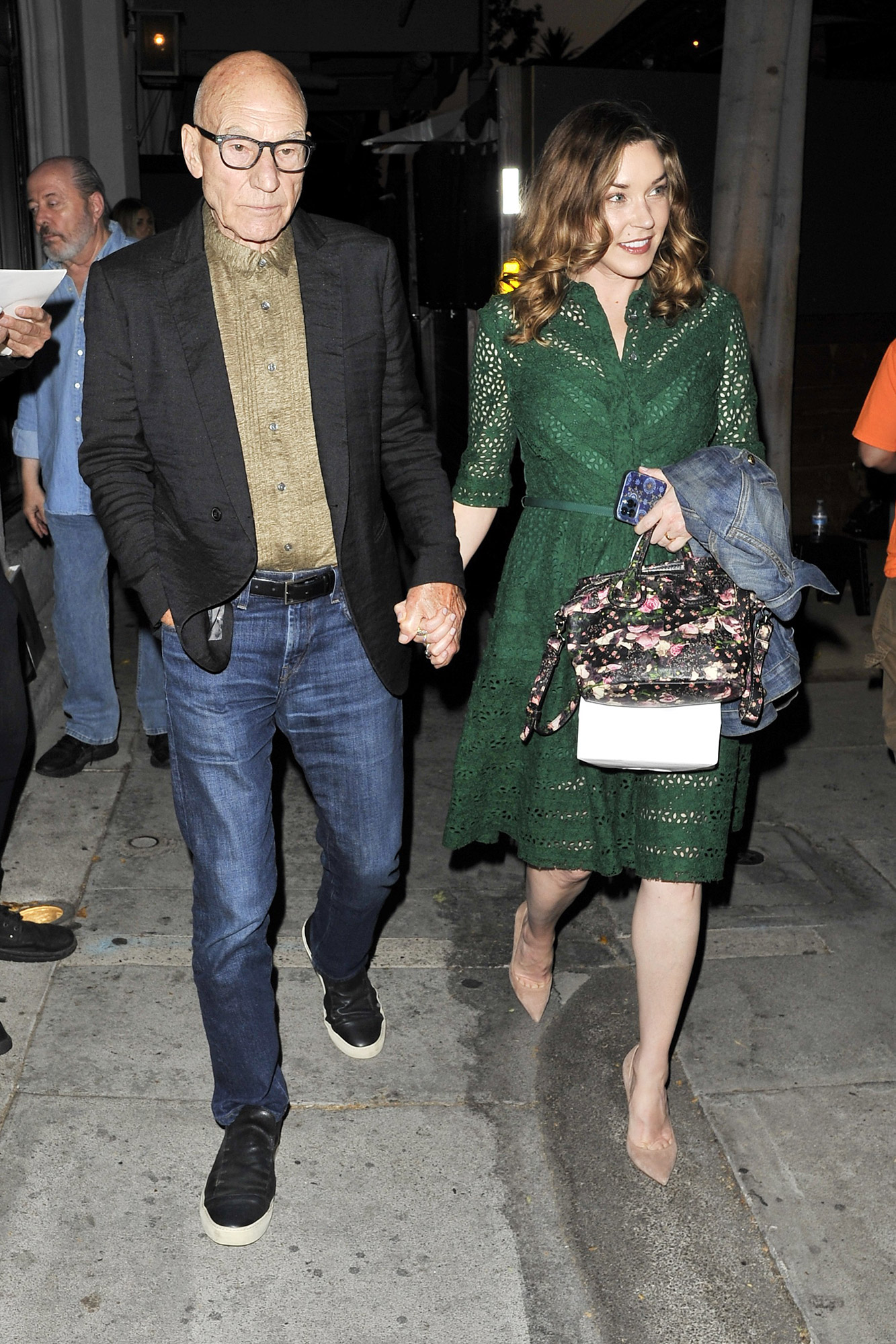 Star Trek Star sir Patrick Stewart leaves Craig's in West Hollywood after having dinner with wife on July 13 2021.