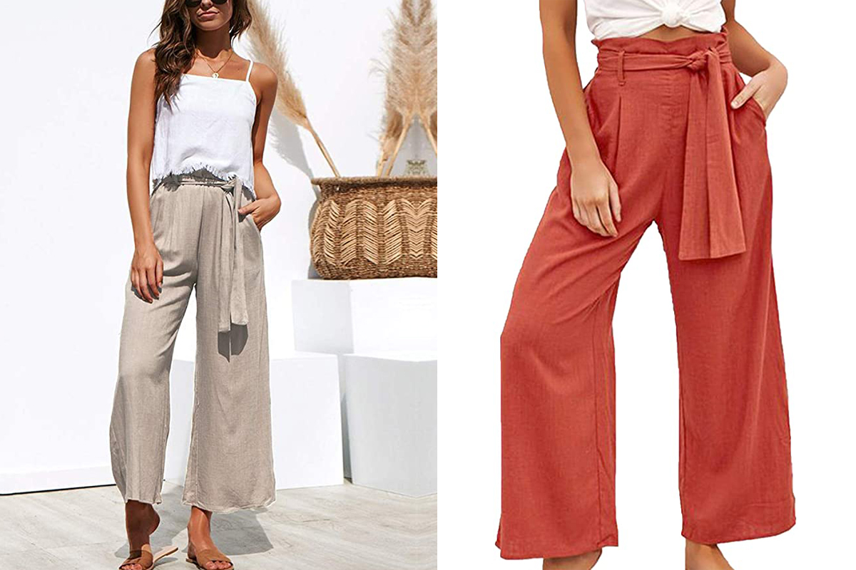 ECOWISH Womens Cotton Soft Palazzo Wide Leg Pant with Pockets