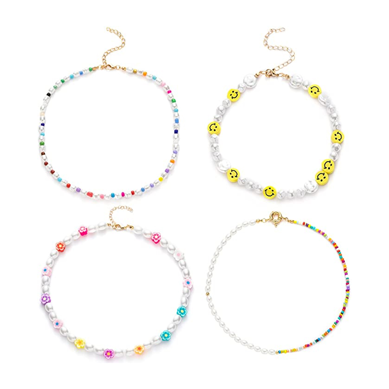 four colorful beaded necklaces