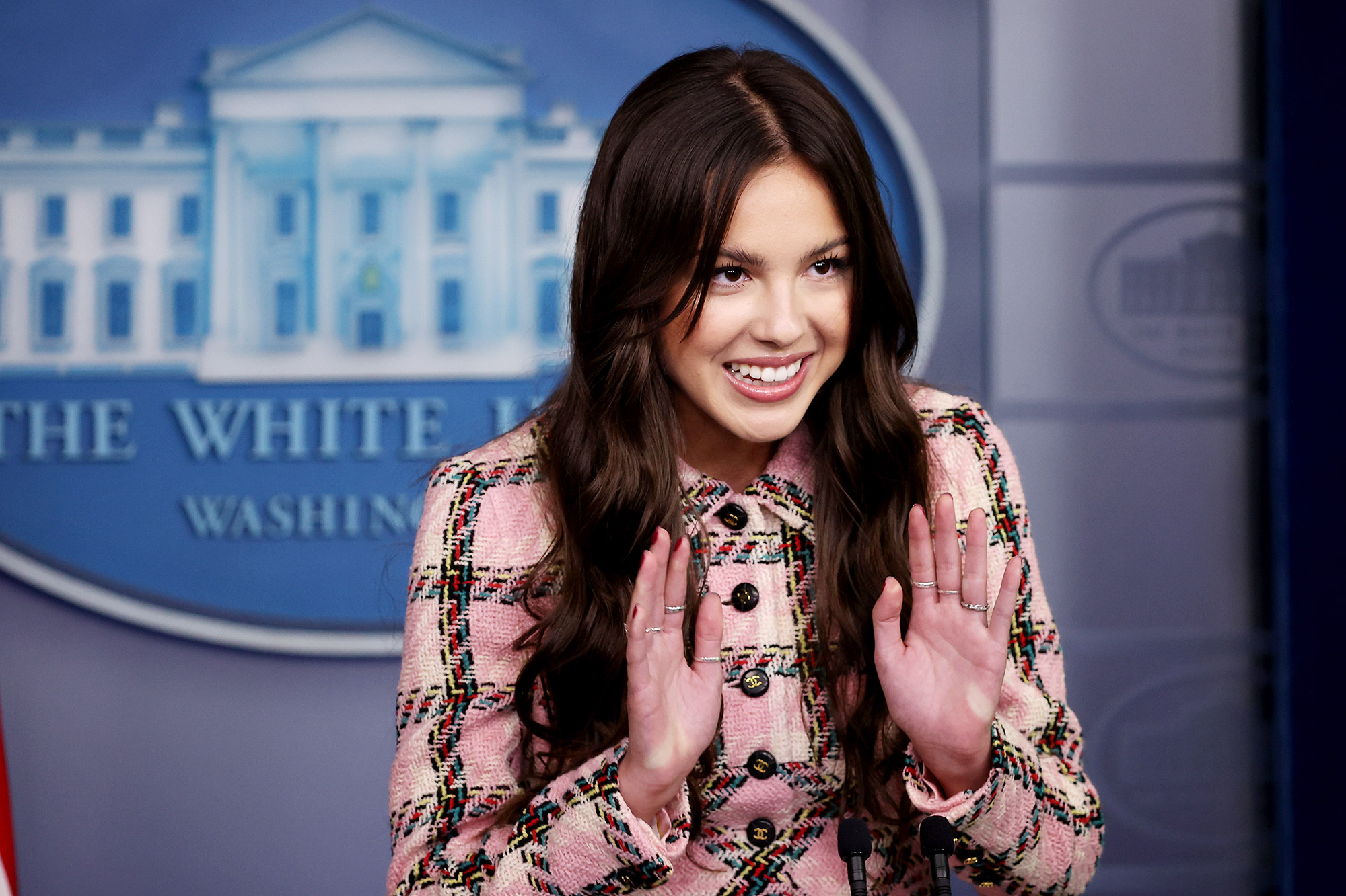 Pop music star and Disney actress Olivia Rodrigo makes a brief statement to reporters at the beginning of the daily news conference in the Brady Press Briefing Room at the White House on July 14, 2021 in Washington, DC