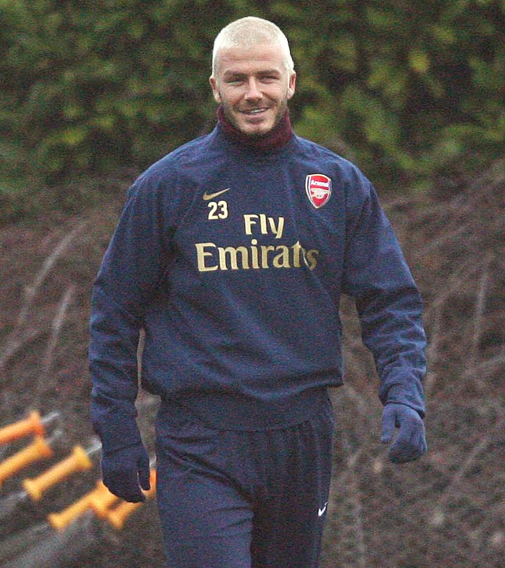 David Beckham trains with the Arsenal squad during a training session at London Colney on January 04, 2015