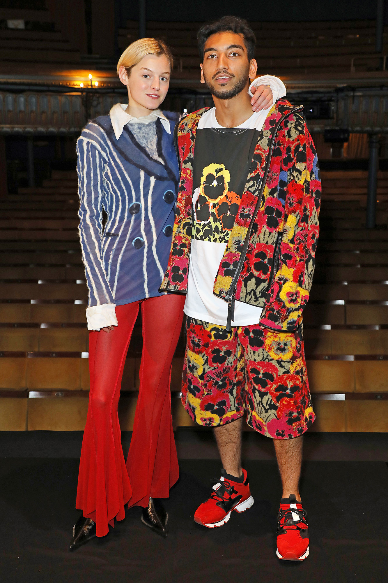 """Emma Corrin and Nabhaan Rizwan pose on stage to celebrate the opening of """"Anna X"""" at the Harold Pinter Theatre on July 15, 2021 in London, England"""