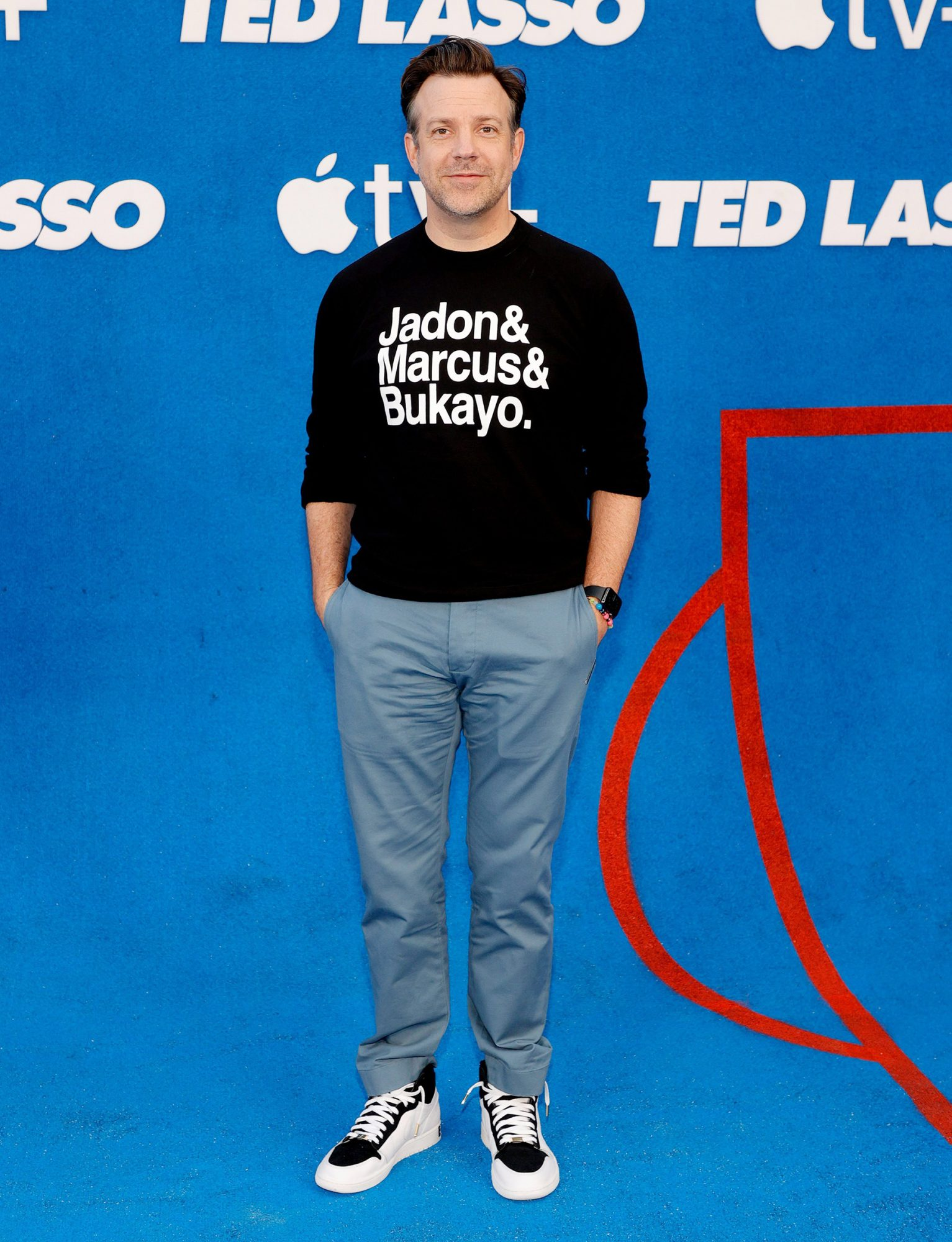 """Jason Sudeikis attends Apple's """"Ted Lasso"""" season two premiere at Pacific Design Center on July 15, 2021 in West Hollywood"""