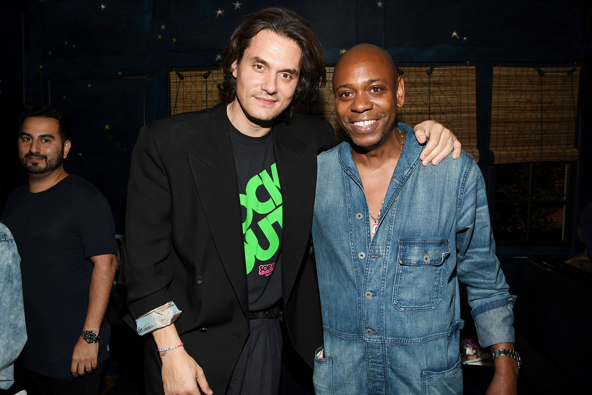 """John Mayer (L) and Dave Chappelle attend the """"Sob Rock"""" Listening Party at San Vicente Bungalows on July 15, 2021 in West Hollywood, California"""