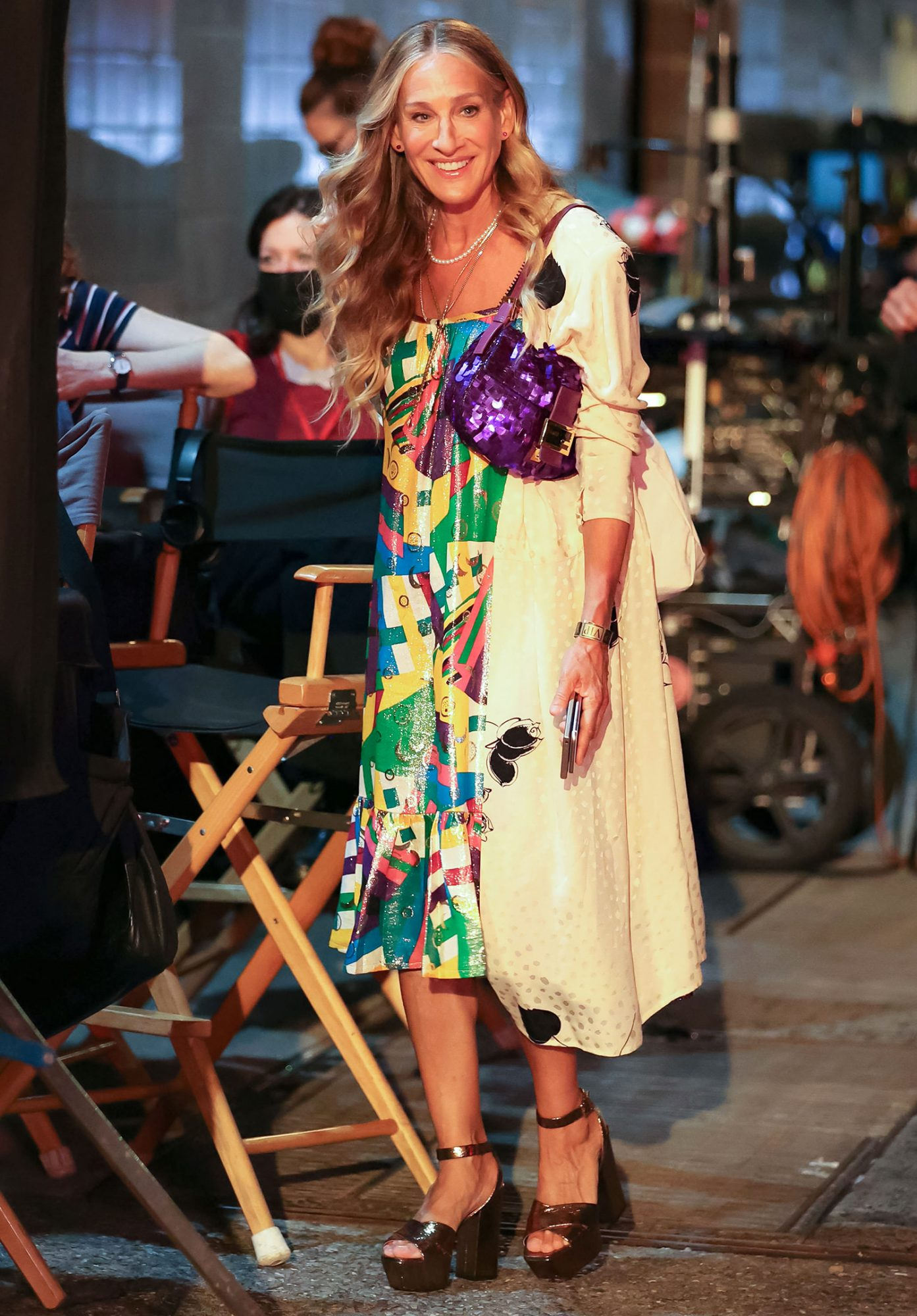 NEW YORK, NY - JULY 16: Sarah Jessica Parker is seen at the film set of the 'And Just Like That' TV Series on July 16, 2021 in New York City.