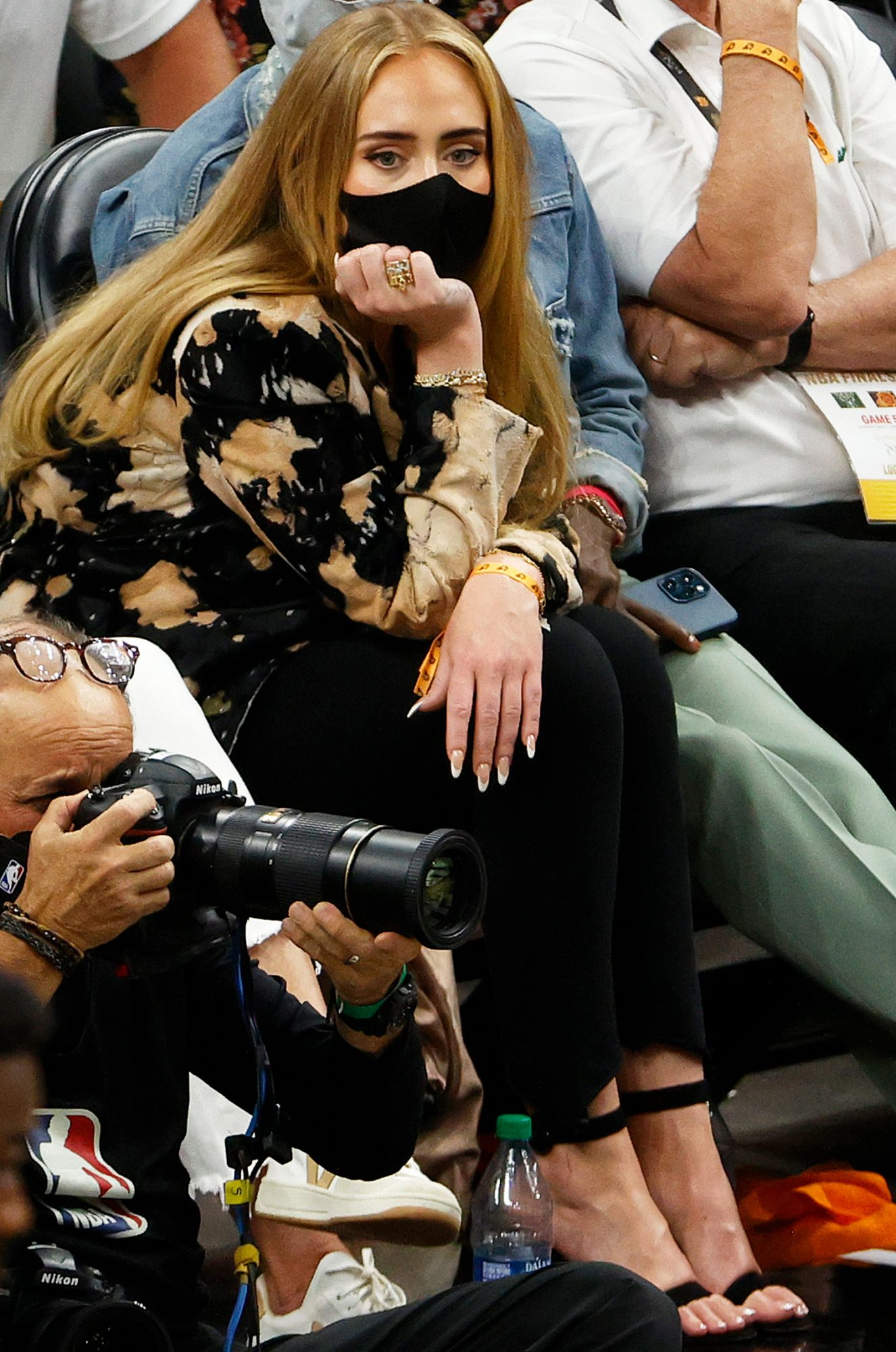 Adele looks on during the first half in Game Five of the NBA Finals between the Milwaukee Bucks and the Phoenix Suns at Footprint Center on July 17, 2021 in Phoenix, Arizona.