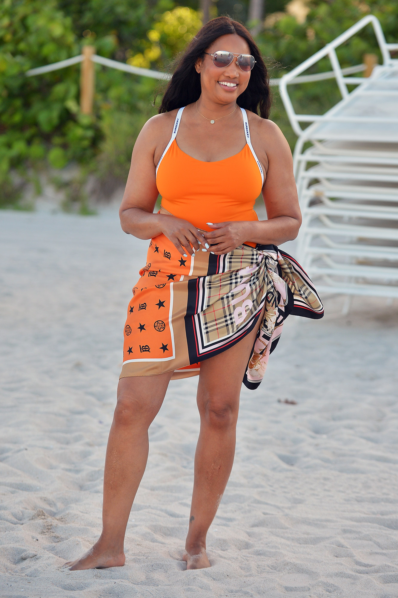 Garcelle Beauvais is seen at the beach on July 16, 2021 in Miami, Florida