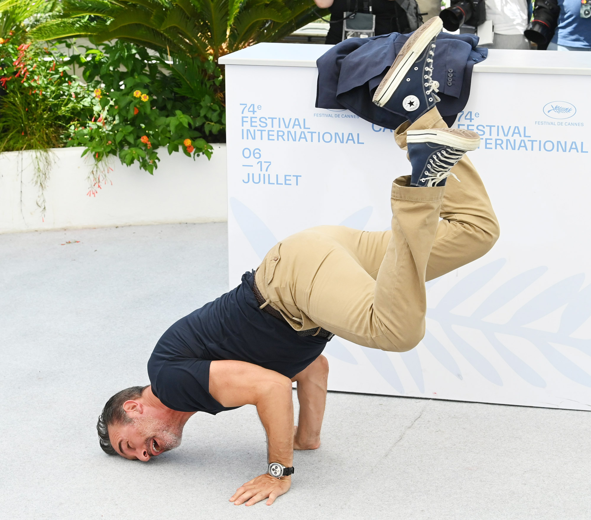 Jean Dujardin dancing 'OSS 117: From Africa with Love' photocall, 74th Cannes Film Festival, France - 17 Jul 2021