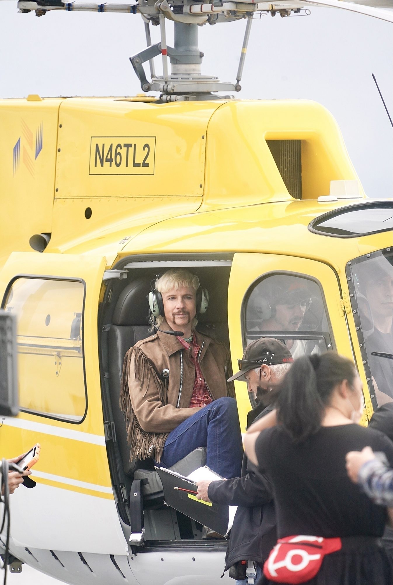 John Cameron Mitchell films a helicopter scene for Joe Exotic Tv Series