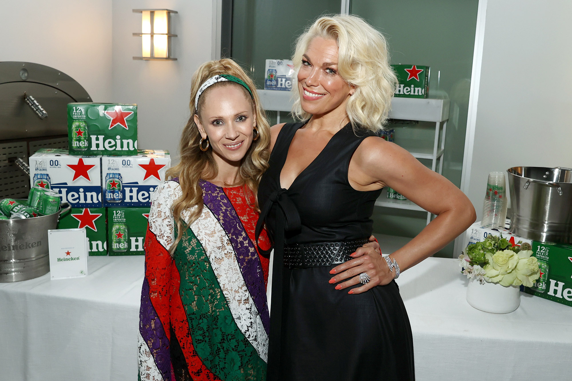 Juno Temple (L) and Hannah Waddingham attend The Hollywood Reporter and Apple TV+ Ted Lasso season two preview at Ross House on July 17, 2021 in Los Angeles, California