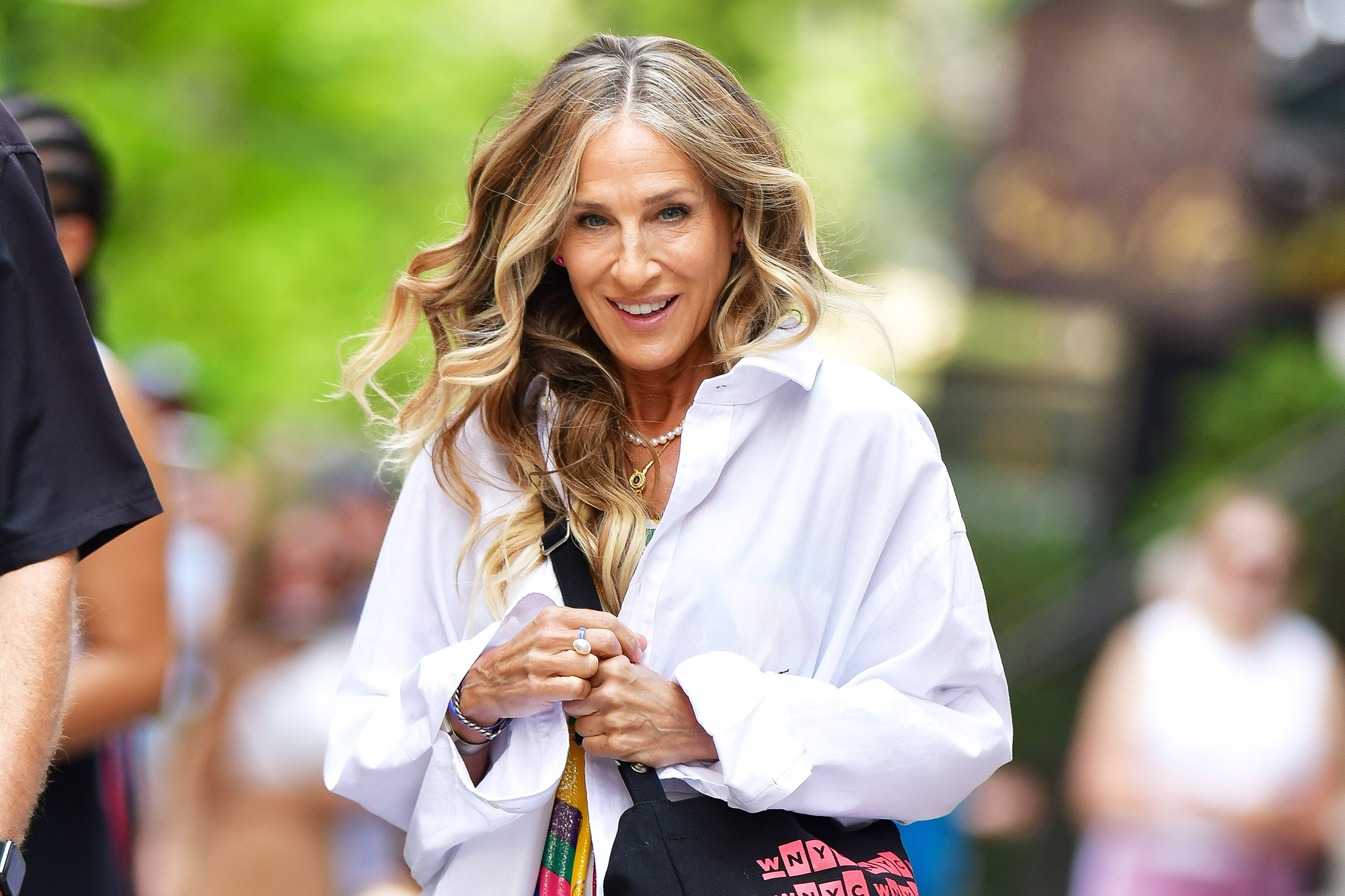"""Sarah Jessica Parker seen on the set of """"And Just Like That..."""" the follow up series to """"Sex and the City"""" in NoHo on July 15, 2021 in New York City"""
