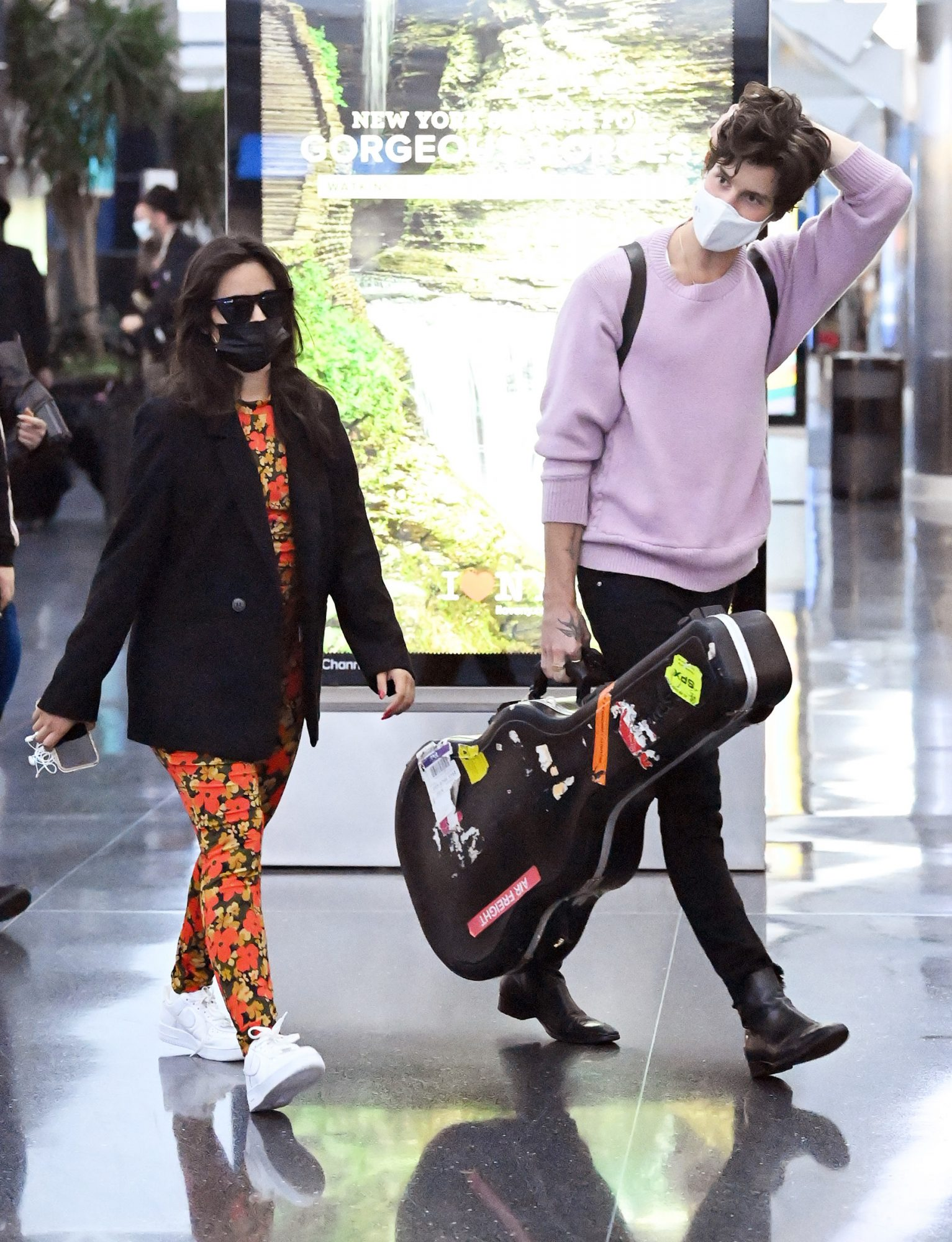 Shawn Mendes and Camila Cabello are spotted arriving at JFK International Airport in New York City
