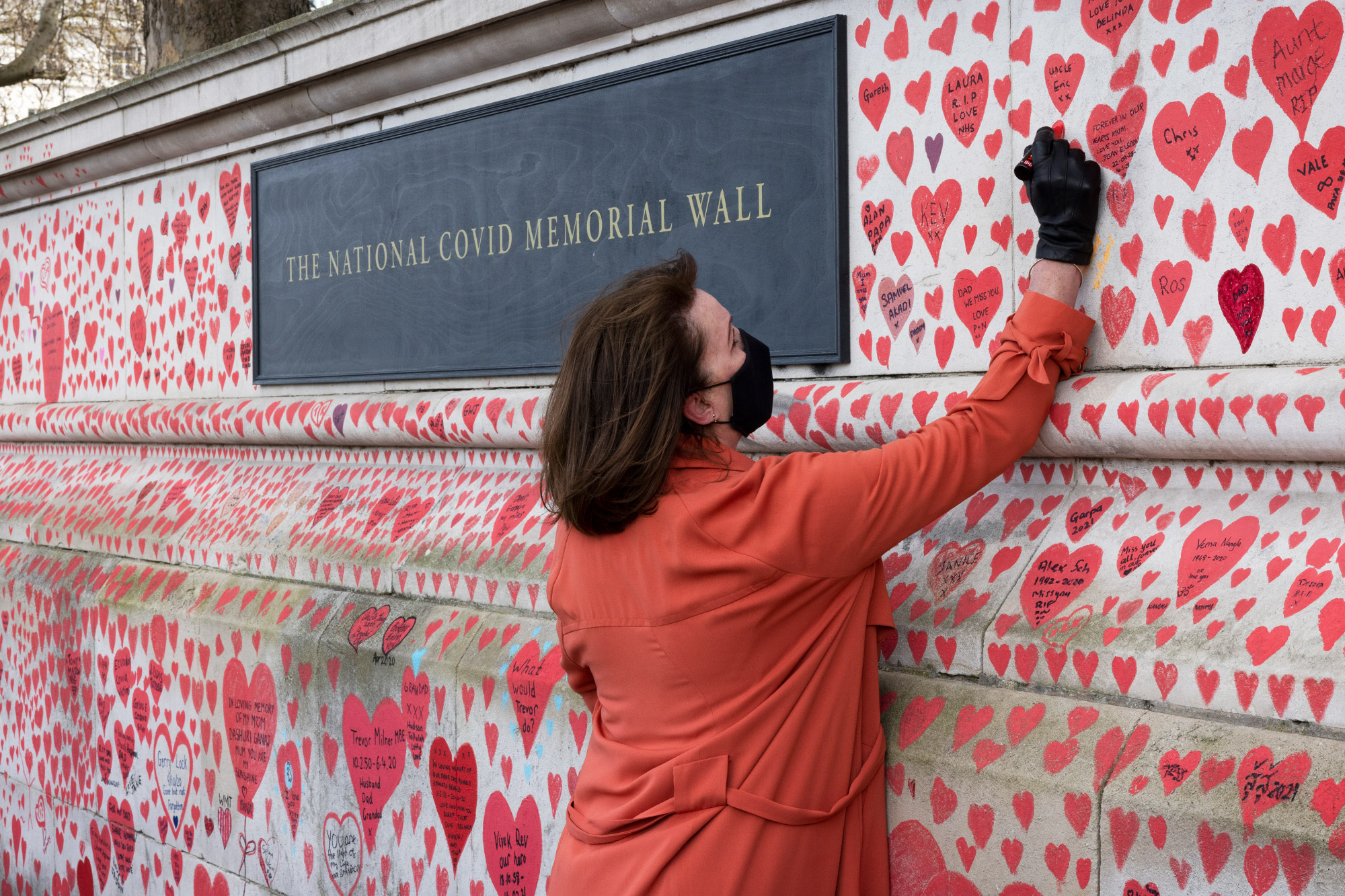 The National Covid Memorial Wall Reaches Completion As Final Heart Is Drawn On