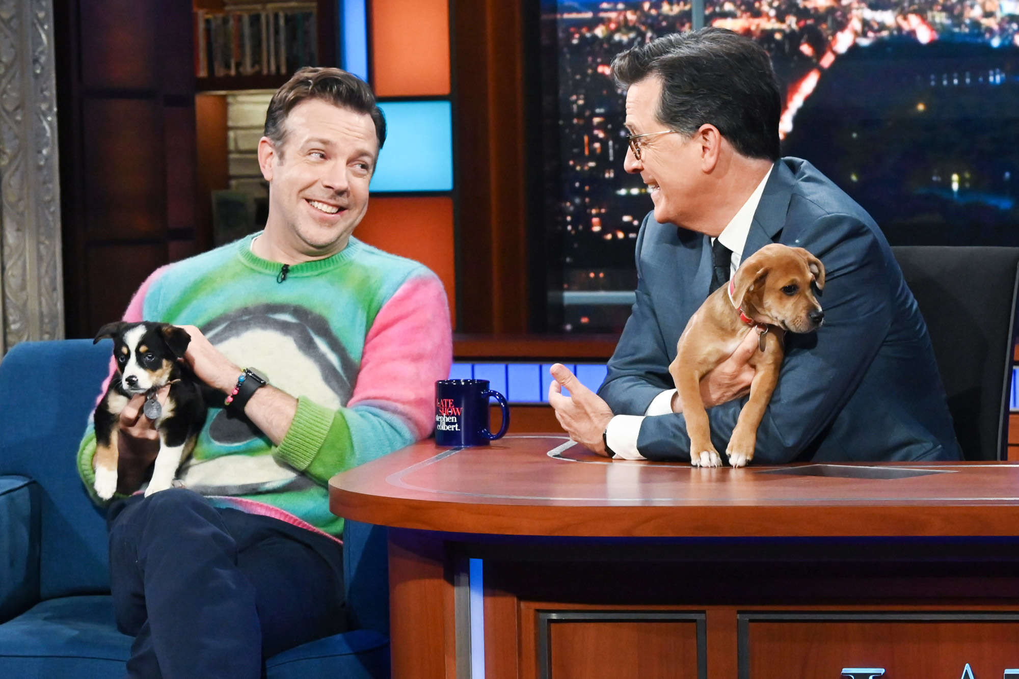 The Late Show with Stephen Colbert and guest Jason Sudeikis during Tuesday's July 20, 2021 show