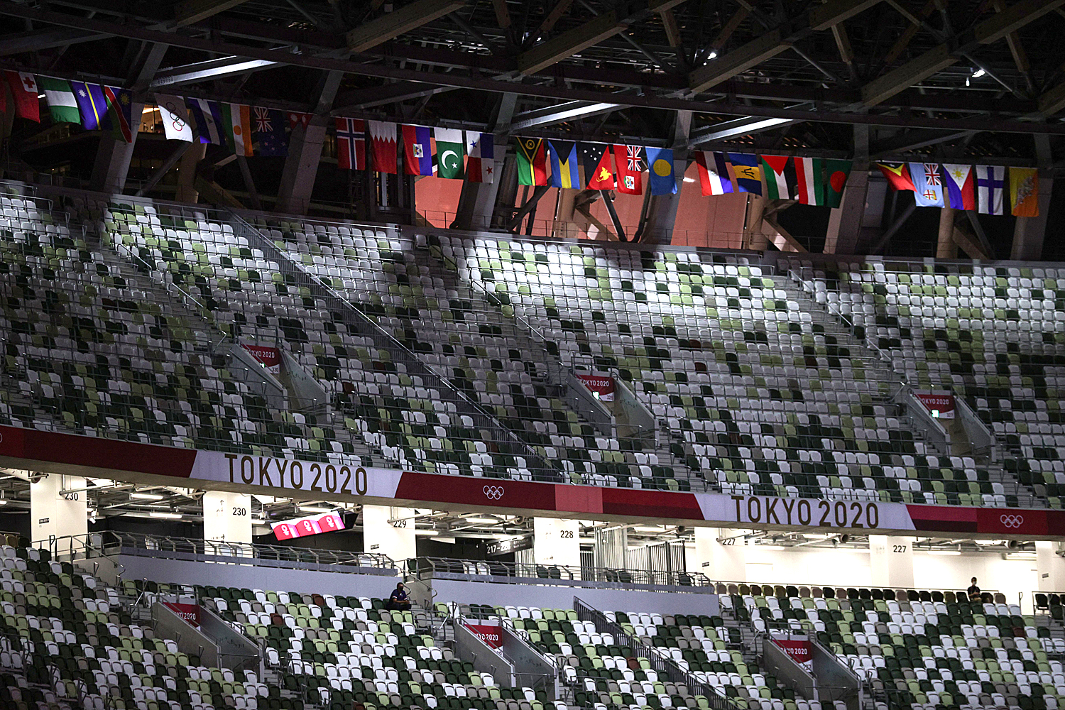 Empty seats are seen right before the opening ceremony of the Tokyo 2020 Olympic Games