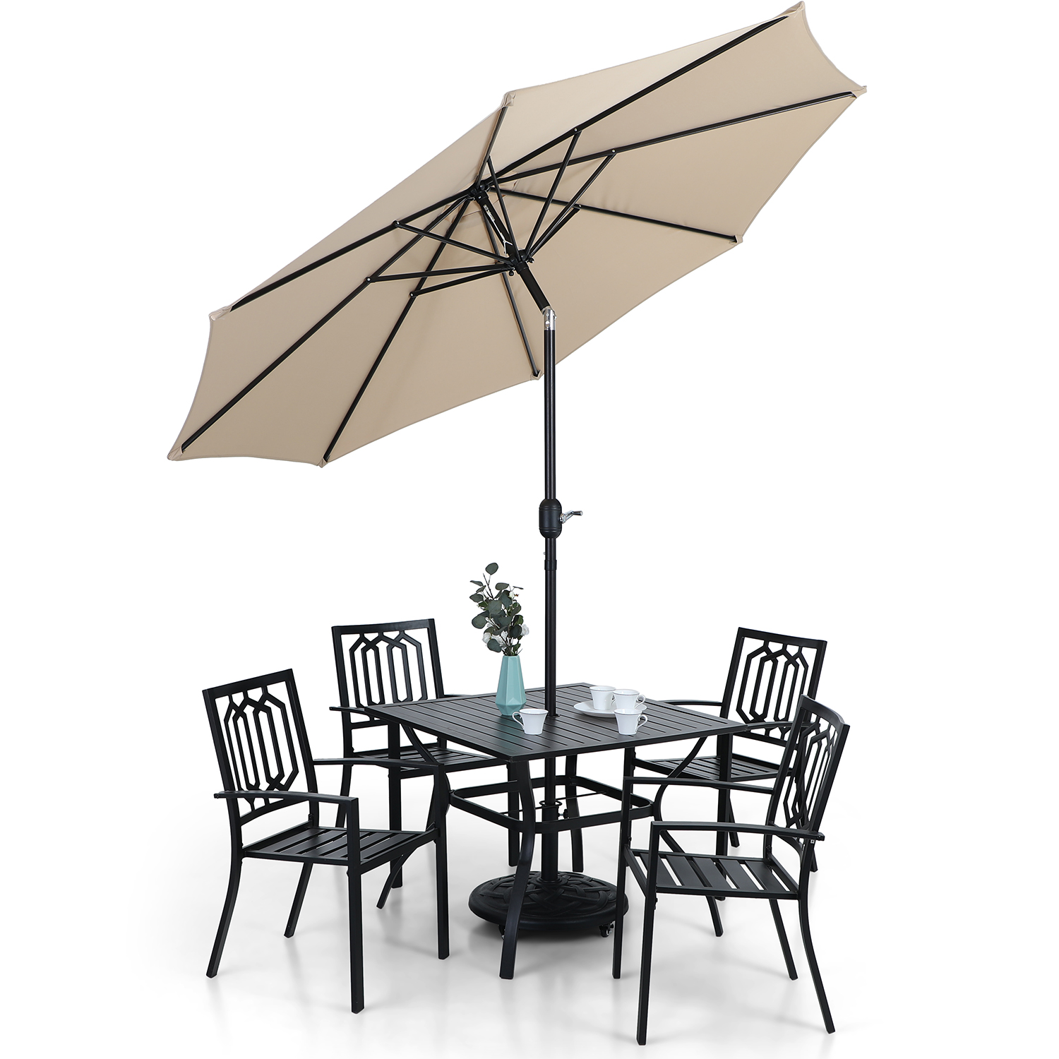 MF Studio 9ft Patio Umbrella with 8 Sturdy Ribs with Push Button Tilt