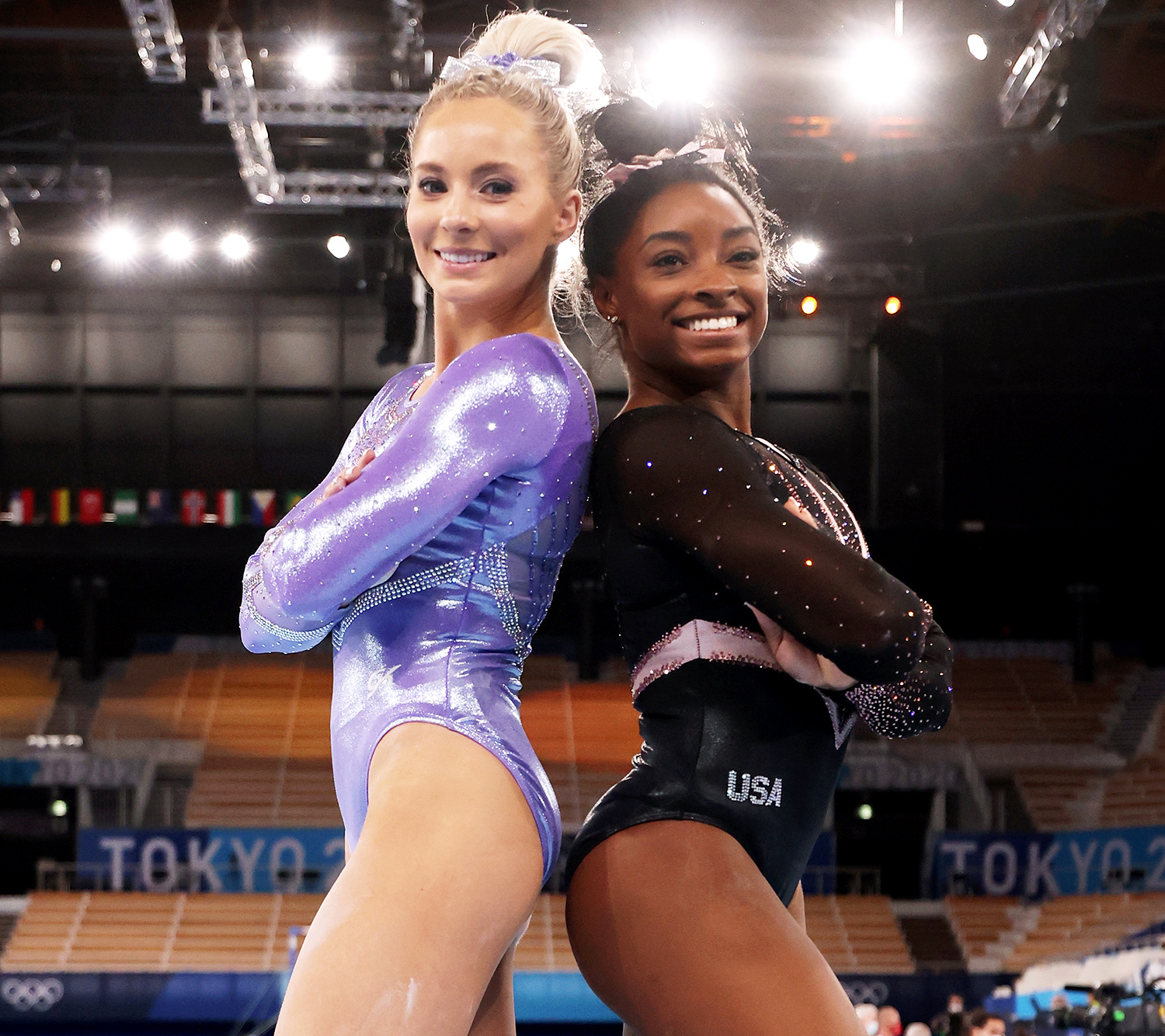 MyKayla Skinner and Simone Biles of Team United States pose for a picture during Women's Podium Training ahead of the Tokyo 2020 Olympic Games at Ariake Gymnastics Centre on July 22, 2021 in Tokyo, Japan.
