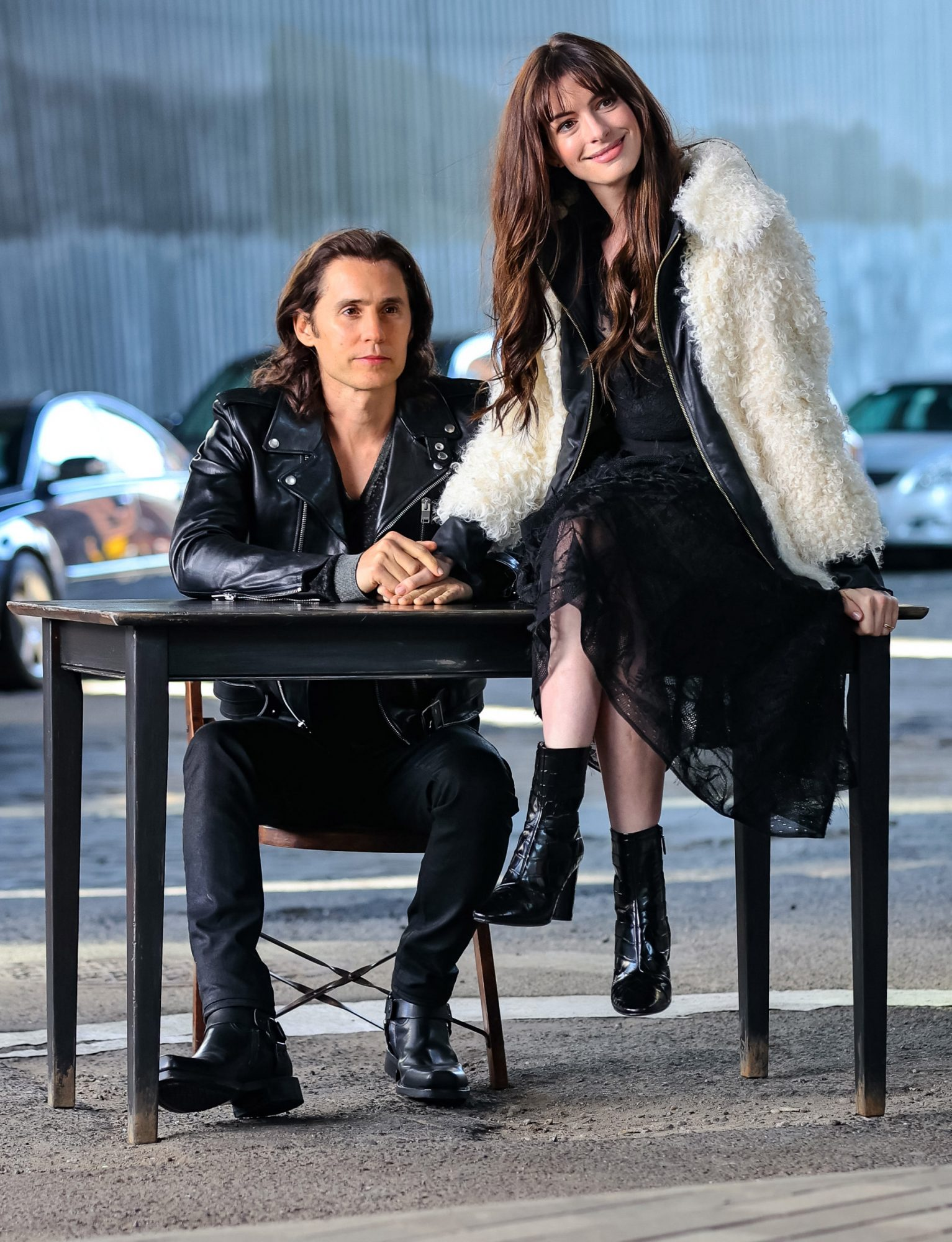 Atmosphere is seen at the film set of the 'WeCrashed' TV Series in New York City. 02 Aug 2021 Pictured: Jared Leto,Anne Hathaway.