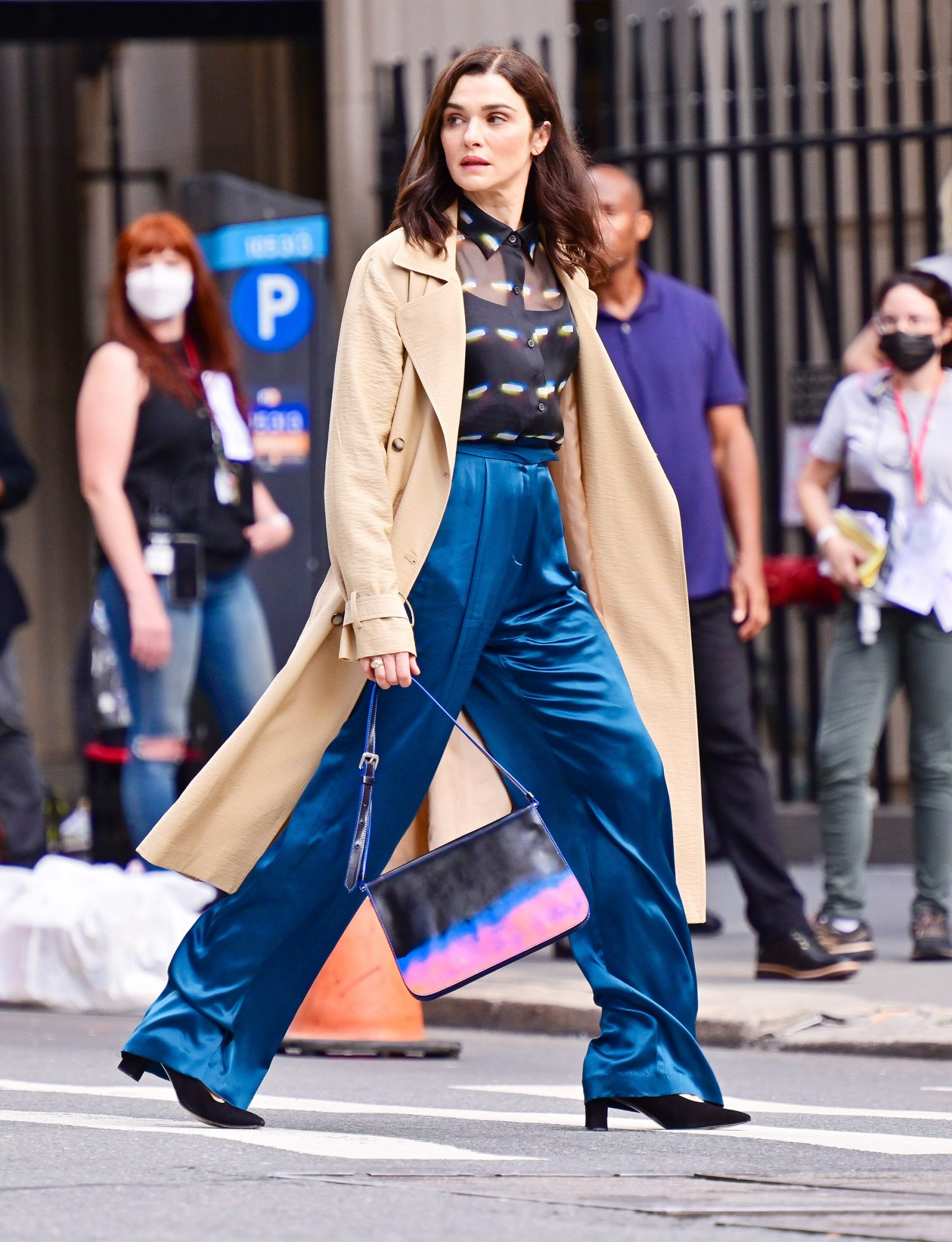 """Rachel Weisz seen on the set of """"Dead Ringers"""" on the streets of Manhattan on August 02, 2021 in New York City"""