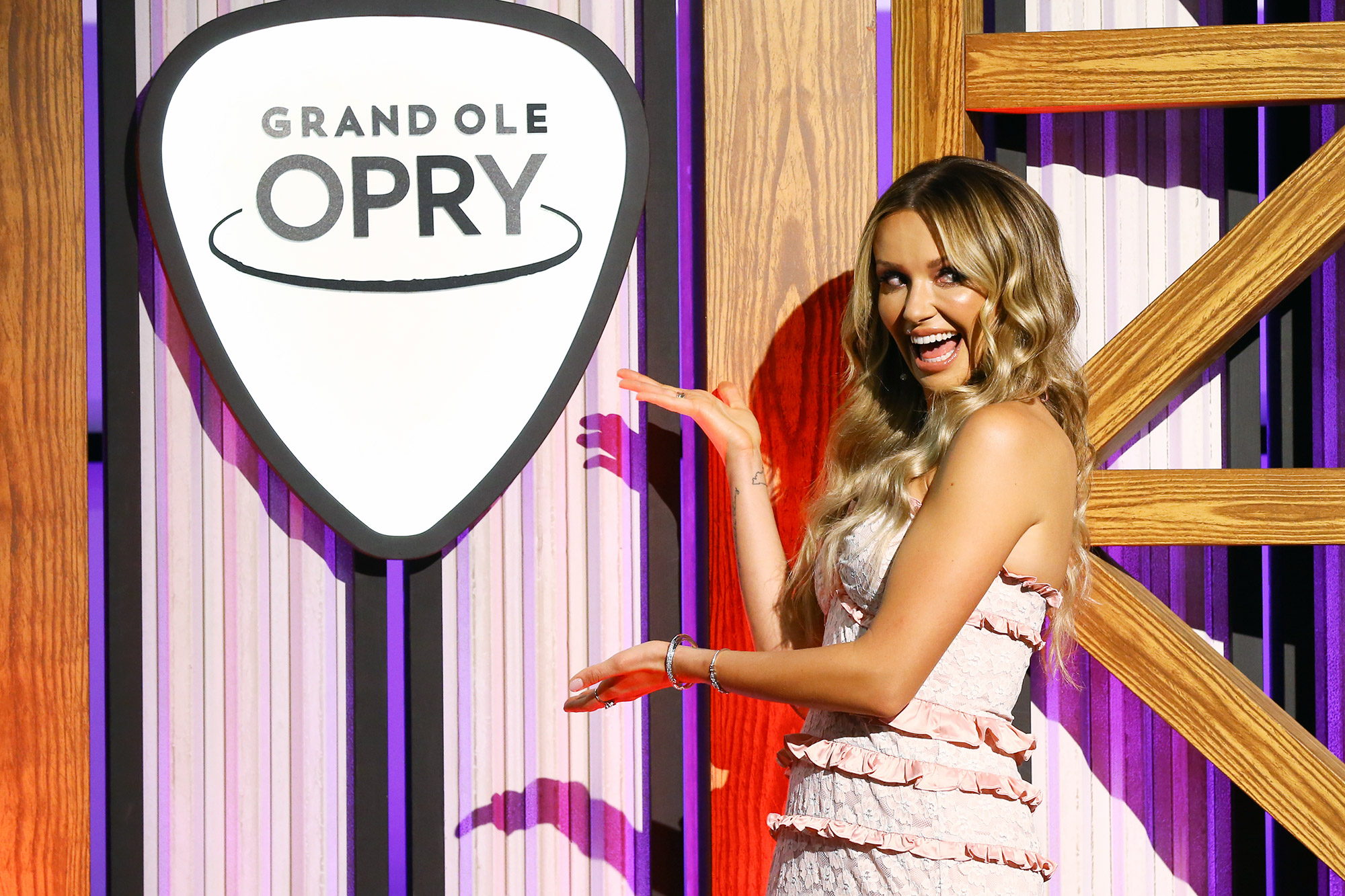 Singer-songwriter Carly Pearce speaks during a press conference before her Induction to the Grand Ole Opry at Grand Ole Opry House on August 03, 2021 in Nashville, Tennessee