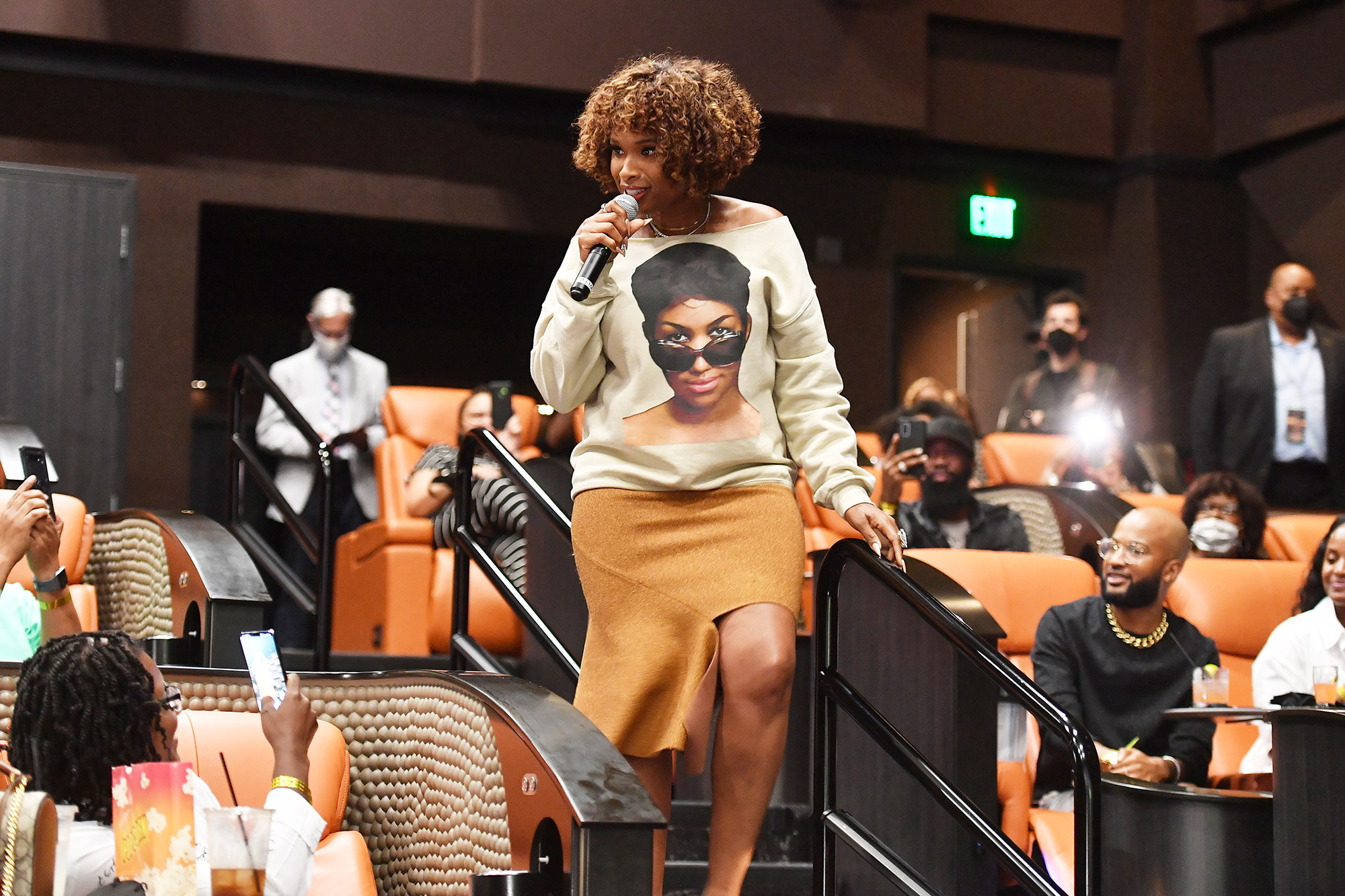 """Jennifer Hudson surprises movie-goers during the """"Respect"""" fan screening at IPIC Theaters at Colony Square on August 03, 2021 in Atlanta, Georgia"""