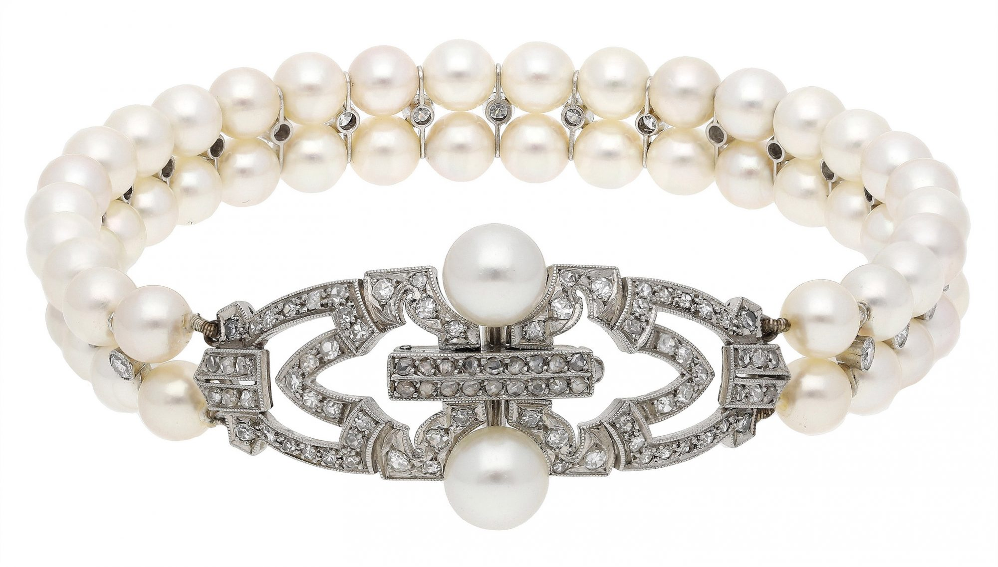 Formerly from the Collection of Her Royal Highness, The Princess Margaret, Countess of Snowdon: An Art Deco cultured pearl and diamond bracelet, circa 1925