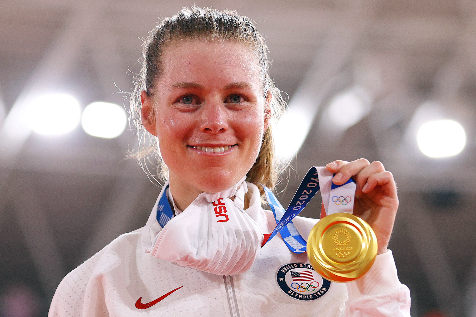 Gold medalist Jennifer Valente of Team United States, poses during the medal ceremony after the Women's Omnium finals of the track cycling on day sixteen of the Tokyo 2020 Olympic Games at Izu Velodrome on August 08, 2021 in Izu, Shizuoka, Japan