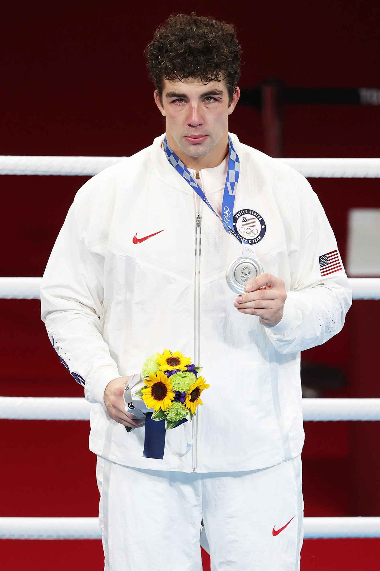 Richard Torrez Jr of Team United States celebrates with his silver medal during the medal ceremony for the Men's Super Heavy (+91kg) Final on day sixteen of the Tokyo 2020 Olympic games at Kokugikan Arena on August 08, 2021 in Tokyo, Japan
