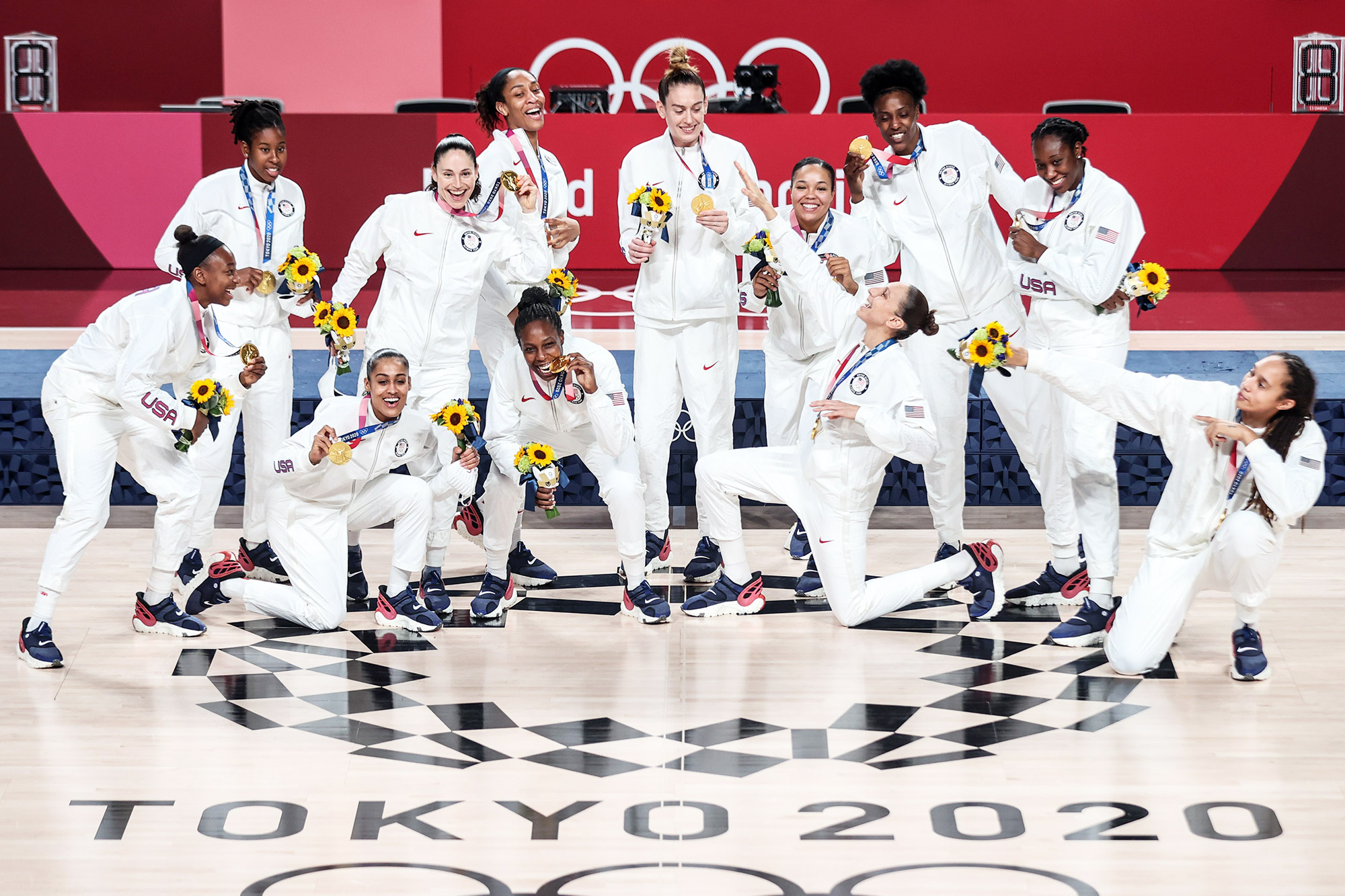 Gold medalists of Team USA pose for a photo on the women's basketball awarding ceremony at Tokyo 2020 Olympic Games, in Tokyo, Japan, Aug. 8, 2021.